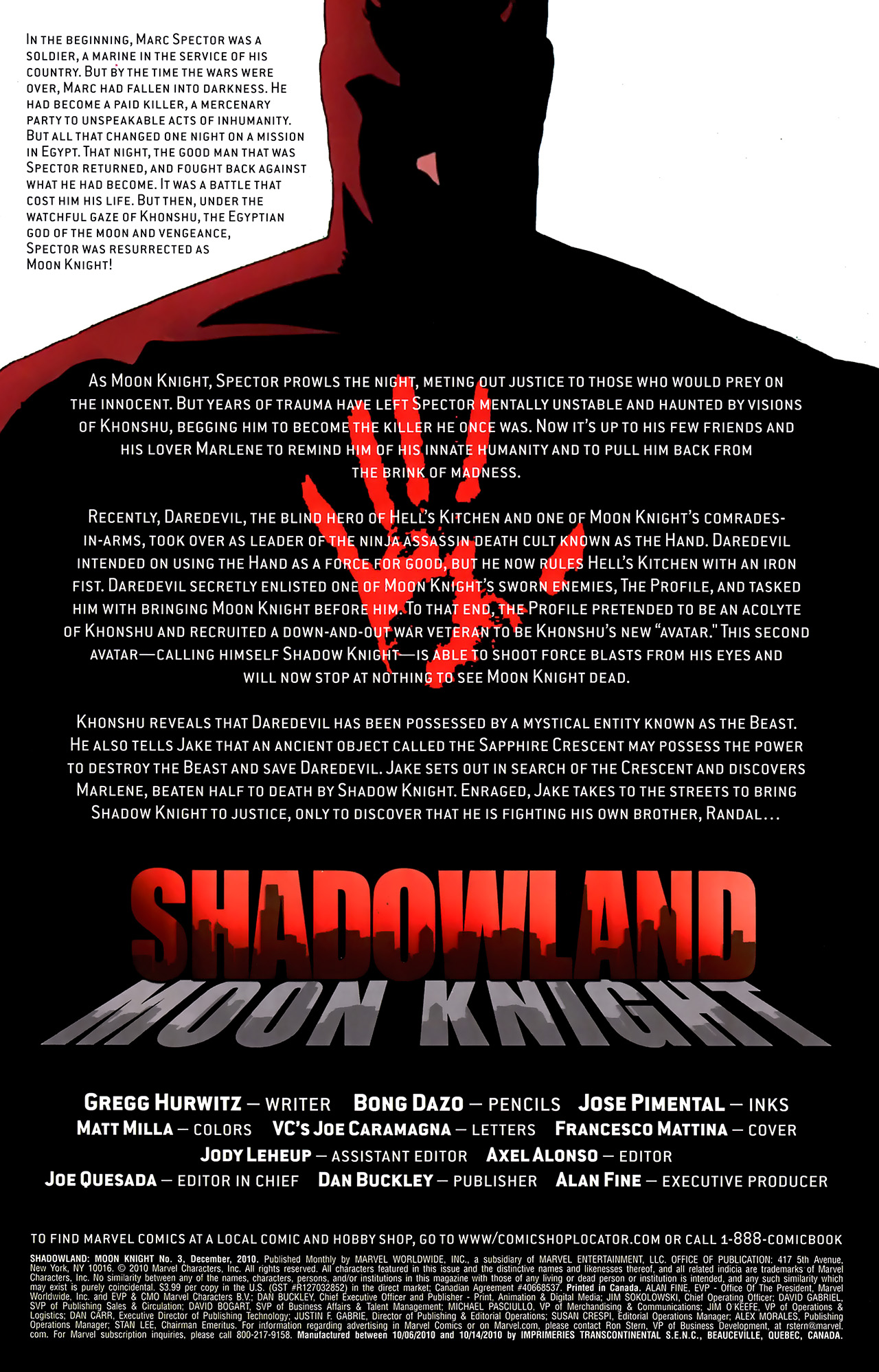 Read online Shadowland: Moon Knight comic -  Issue #3 - 2