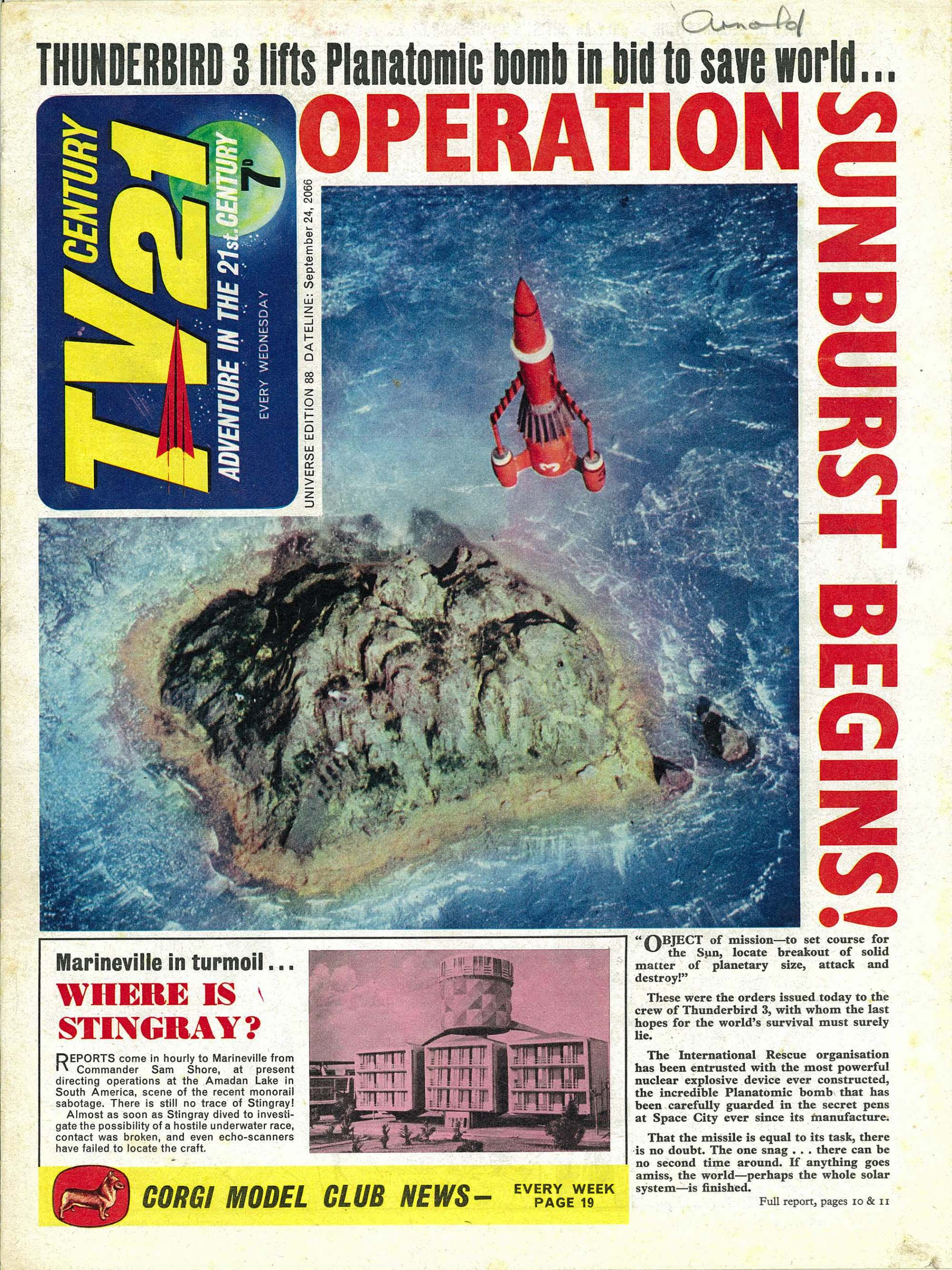 Read online TV Century 21 (TV 21) comic -  Issue #88 - 1