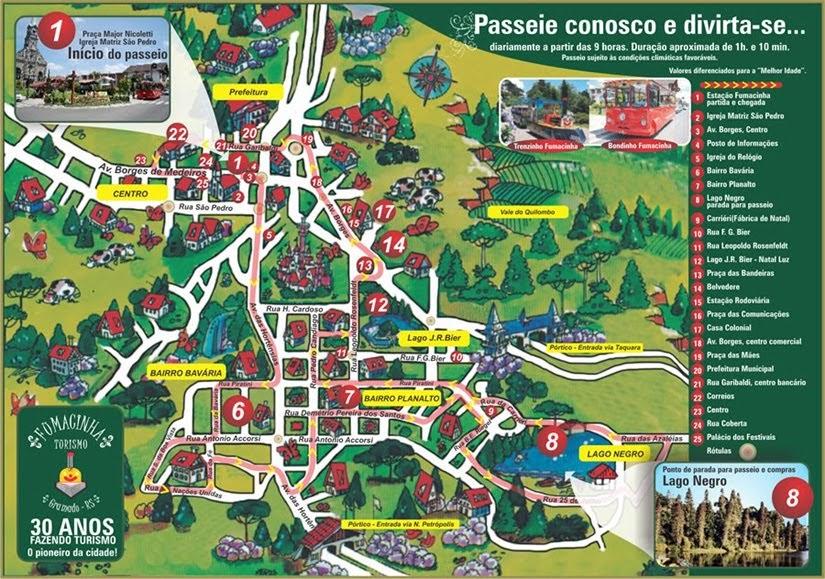 Mapa de Gramado - extraído do site da Fumacinha - City Tour com Fumacinha Turismo