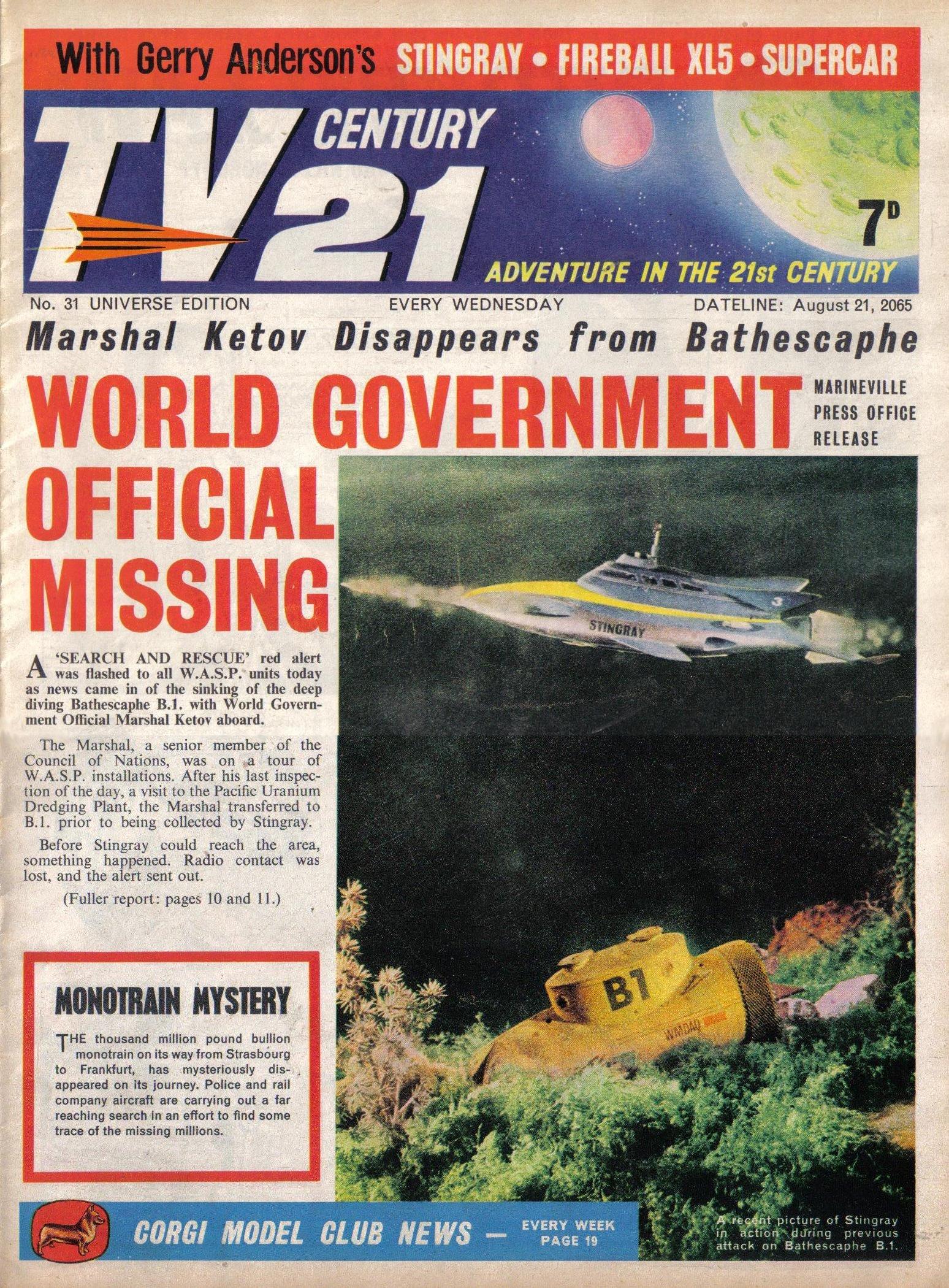 Read online TV Century 21 (TV 21) comic -  Issue #31 - 1