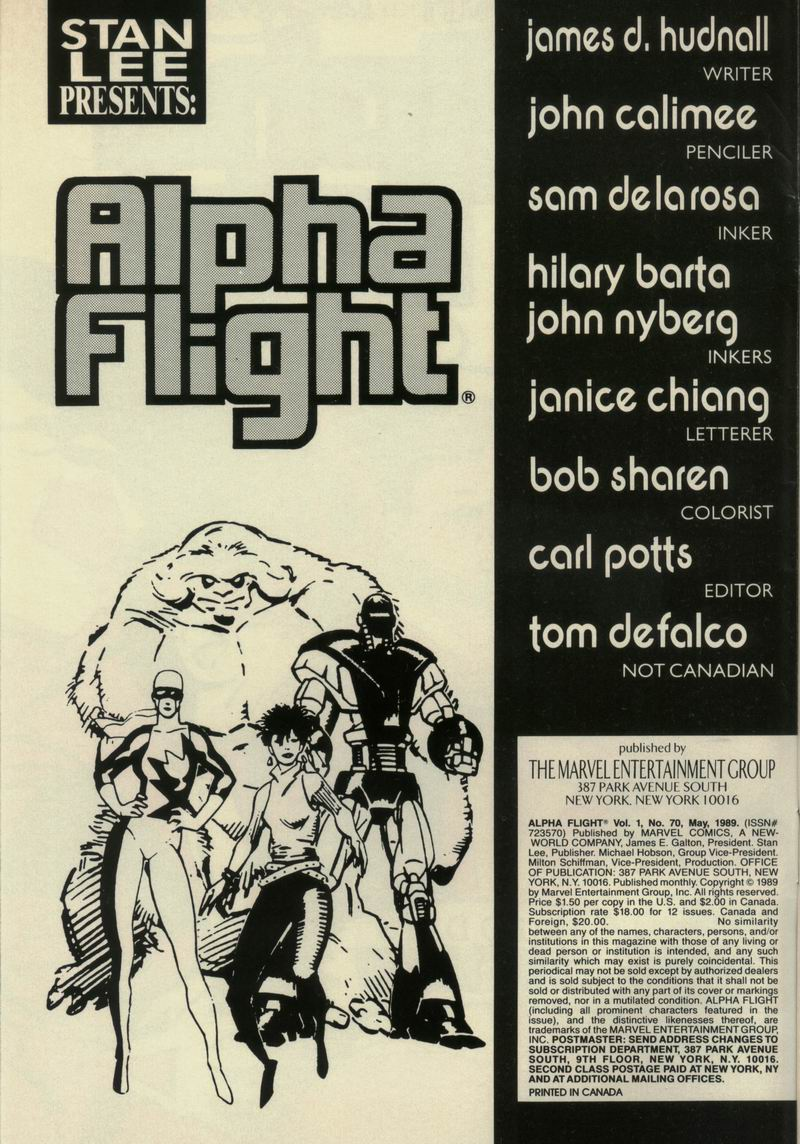 Read online Alpha Flight (1983) comic -  Issue #70 - 2
