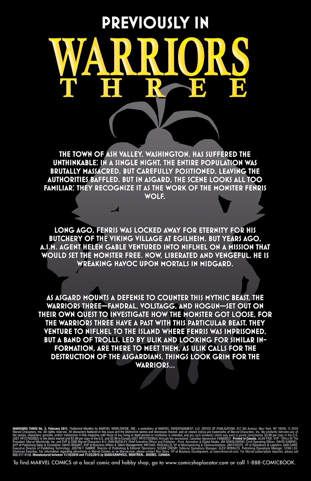 Warriors Three Issue #2 #2 - English 2