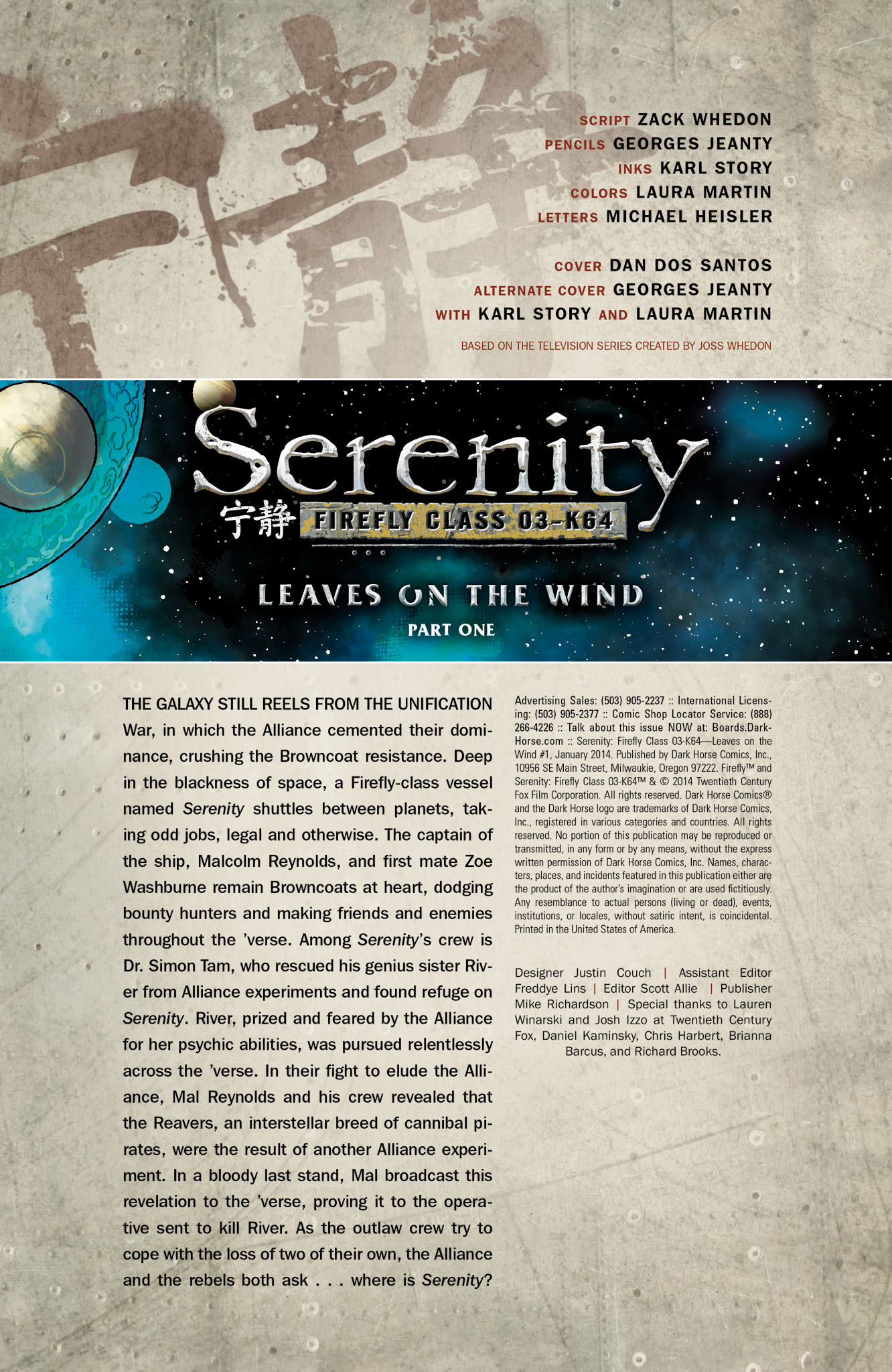 Read online Serenity: Firefly Class 03-K64  Leaves on the Wind comic -  Issue #1 - 2