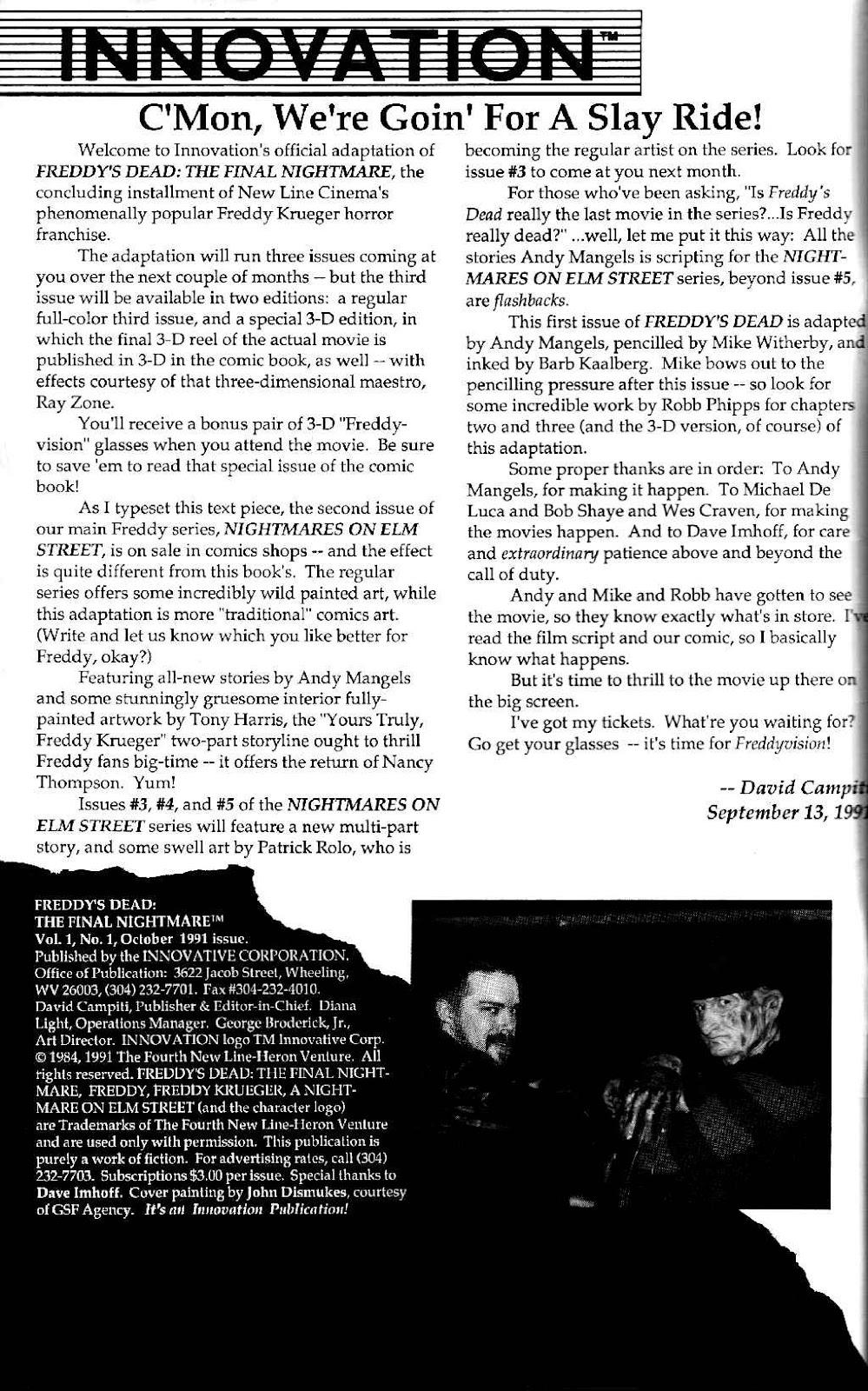 Read online Freddy's Dead: The Final Nightmare comic -  Issue #1 - 2