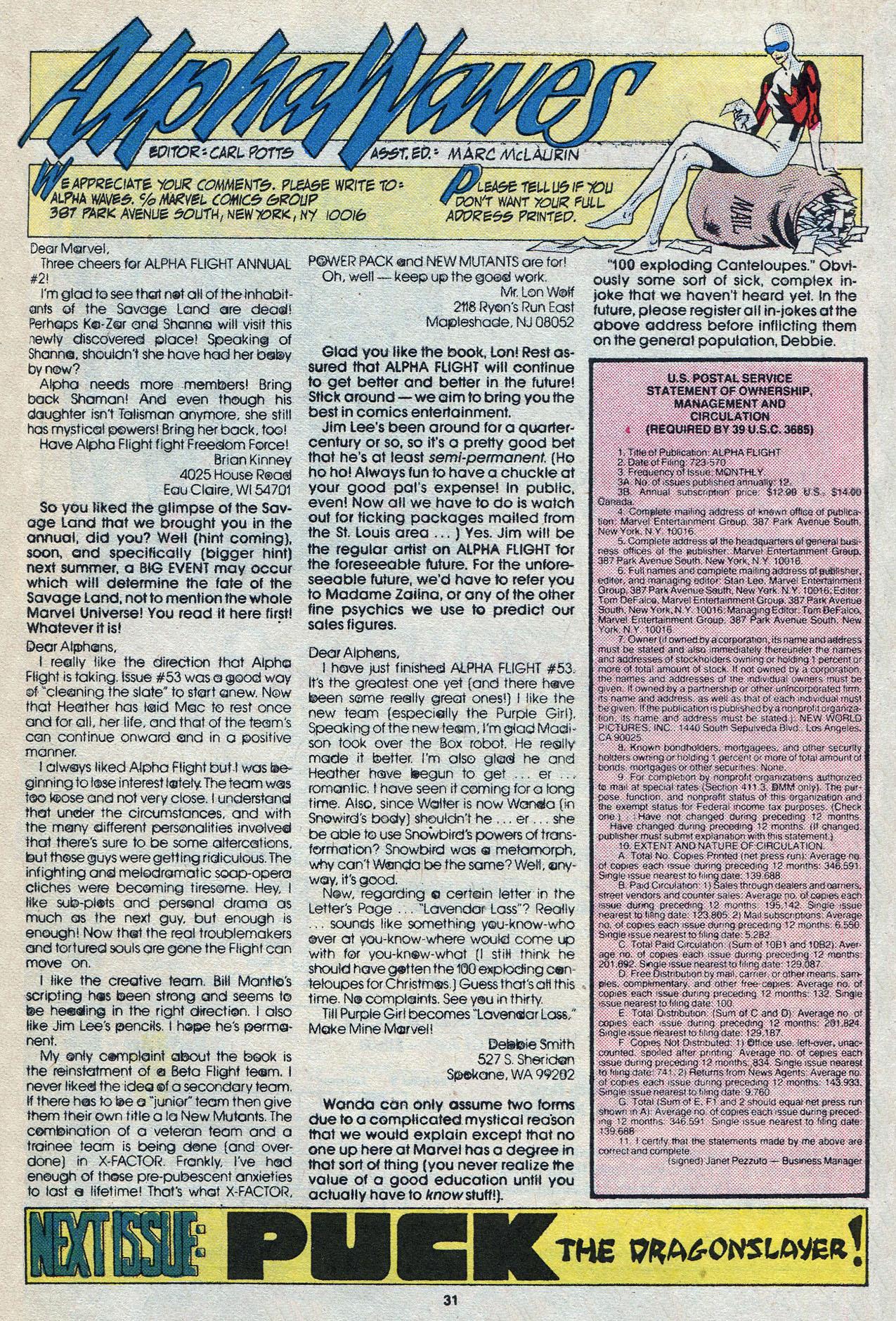 Read online Alpha Flight (1983) comic -  Issue #58 - 33