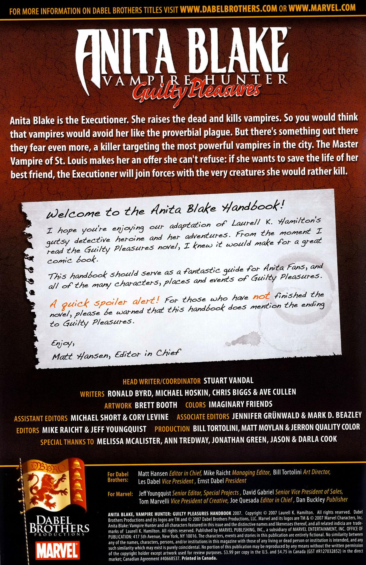 Read online Anita Blake, Vampire Hunter: Guilty Pleasures Handbook comic -  Issue #Anita Blake, Vampire Hunter: Guilty Pleasures Handbook Full - 2