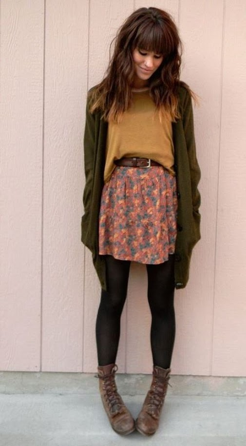 Romantic outfit idea with olive cardigan, mustard sweater and floral skirt for Warm Autumn women