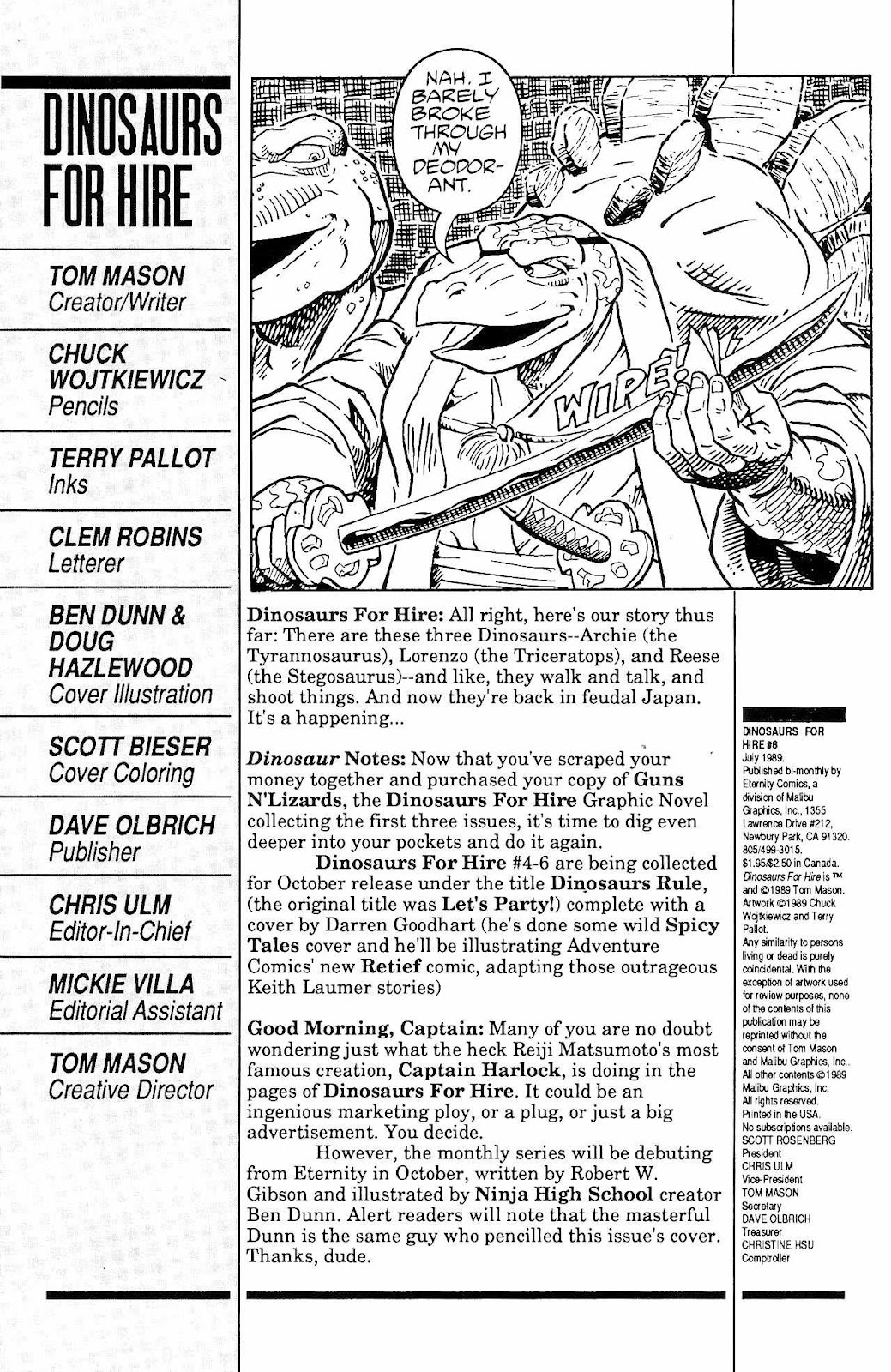 Dinosaurs For Hire (1988) issue 8 - Page 2