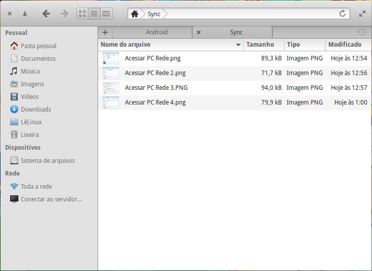 Navegador de arquivos - A pasta Sync que está compartilhada, exibe os mesmos itens da imagem anterior.