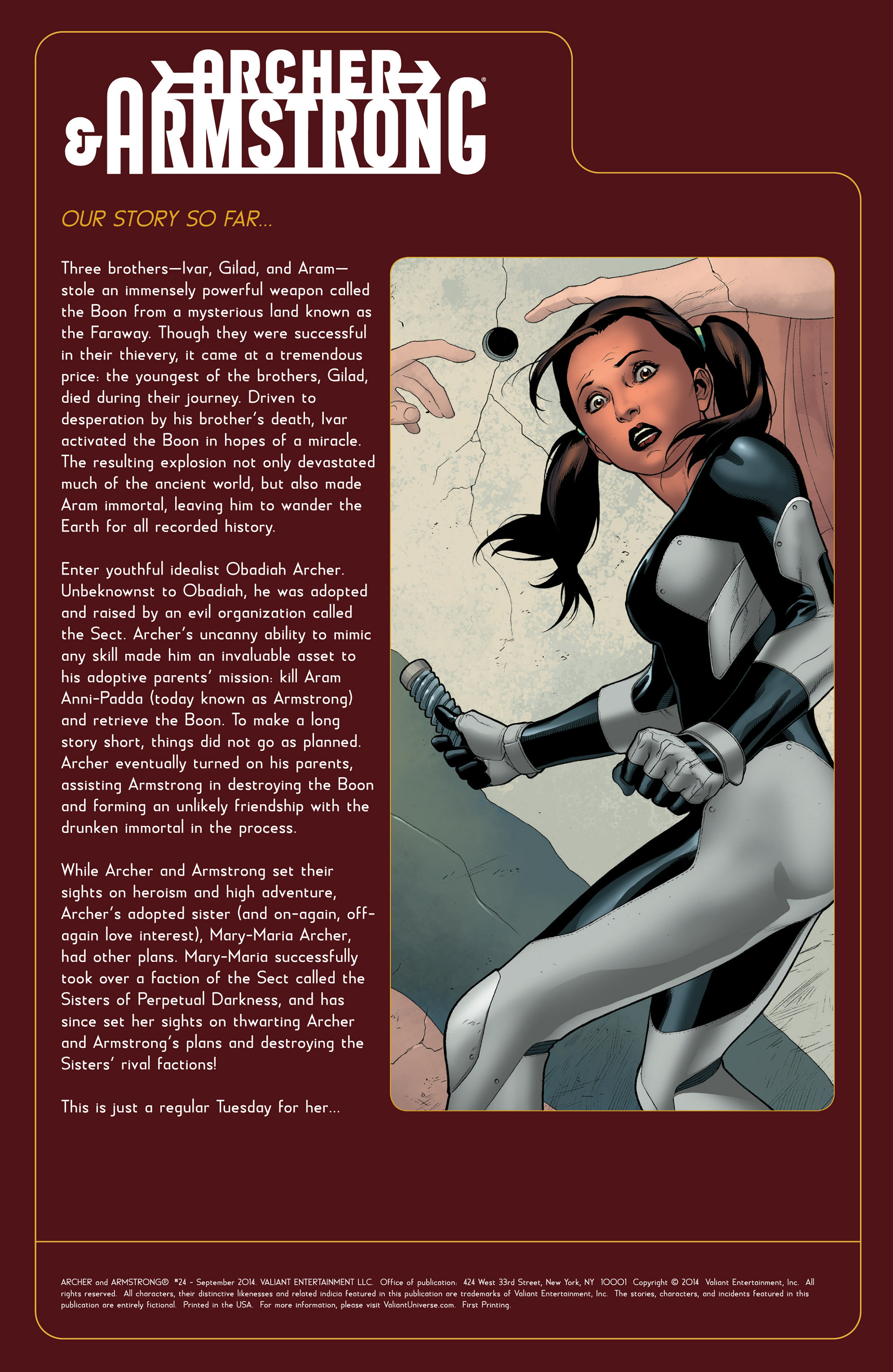 Read online Archer and Armstrong comic -  Issue #24 - 2
