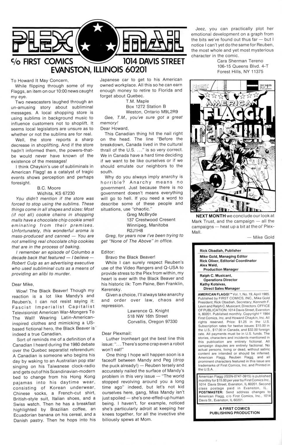 Read online American Flagg! comic -  Issue #19 - 2
