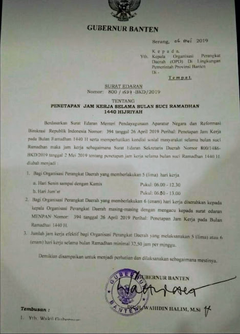 ASN Banten Masuk Kerja Jam 06.00 Pagi