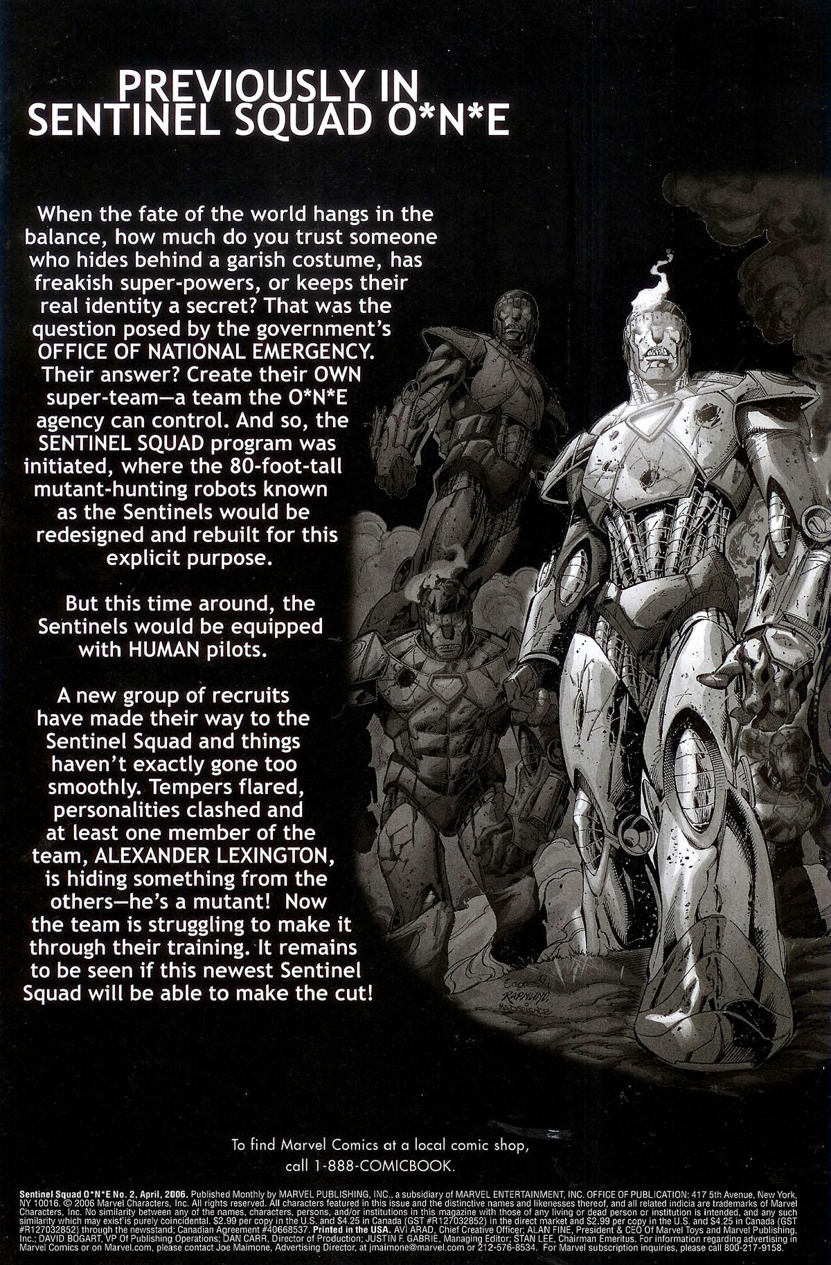 Read online Sentinel Squad O*N*E comic -  Issue #2 - 2