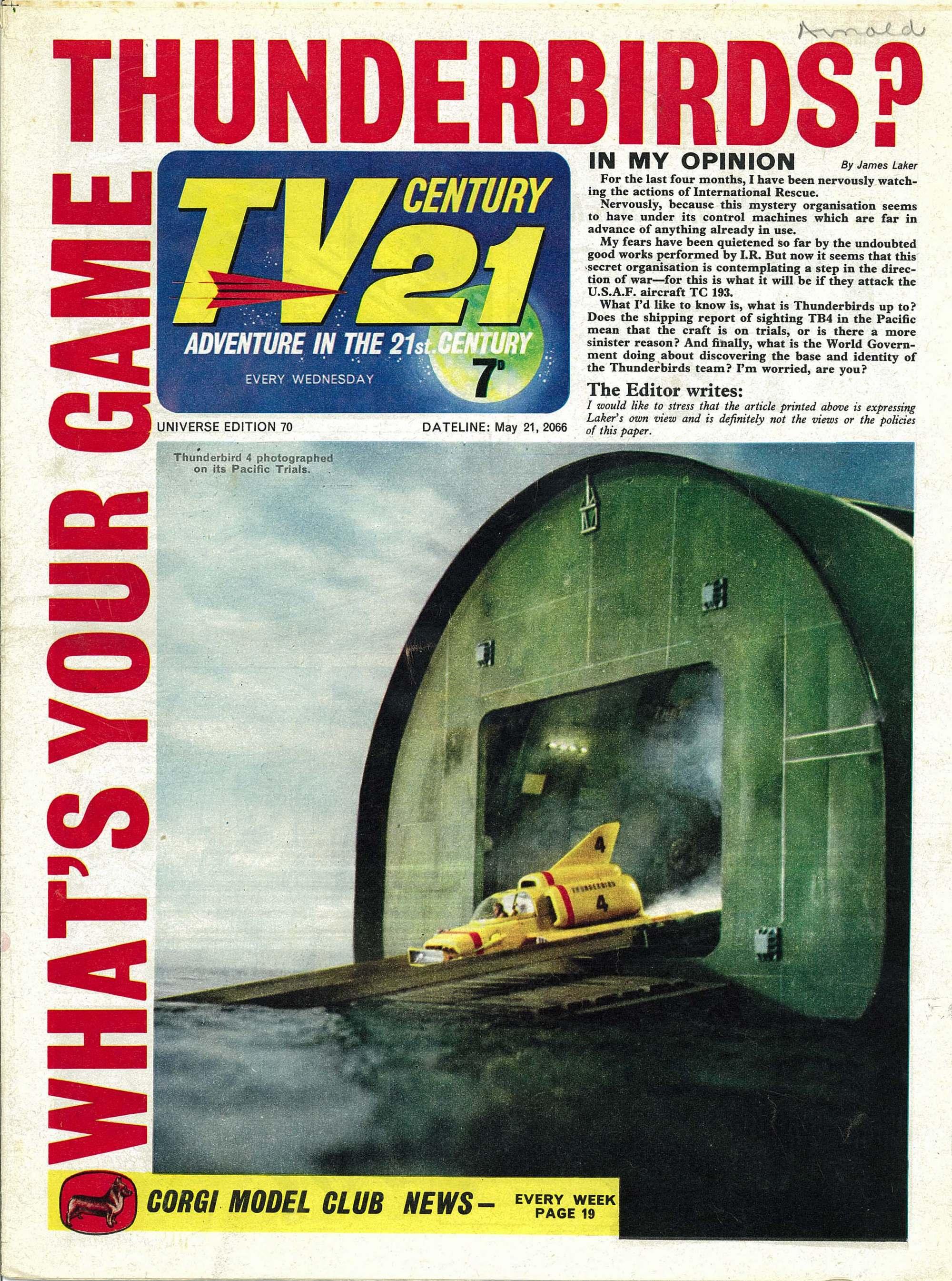 Read online TV Century 21 (TV 21) comic -  Issue #70 - 1