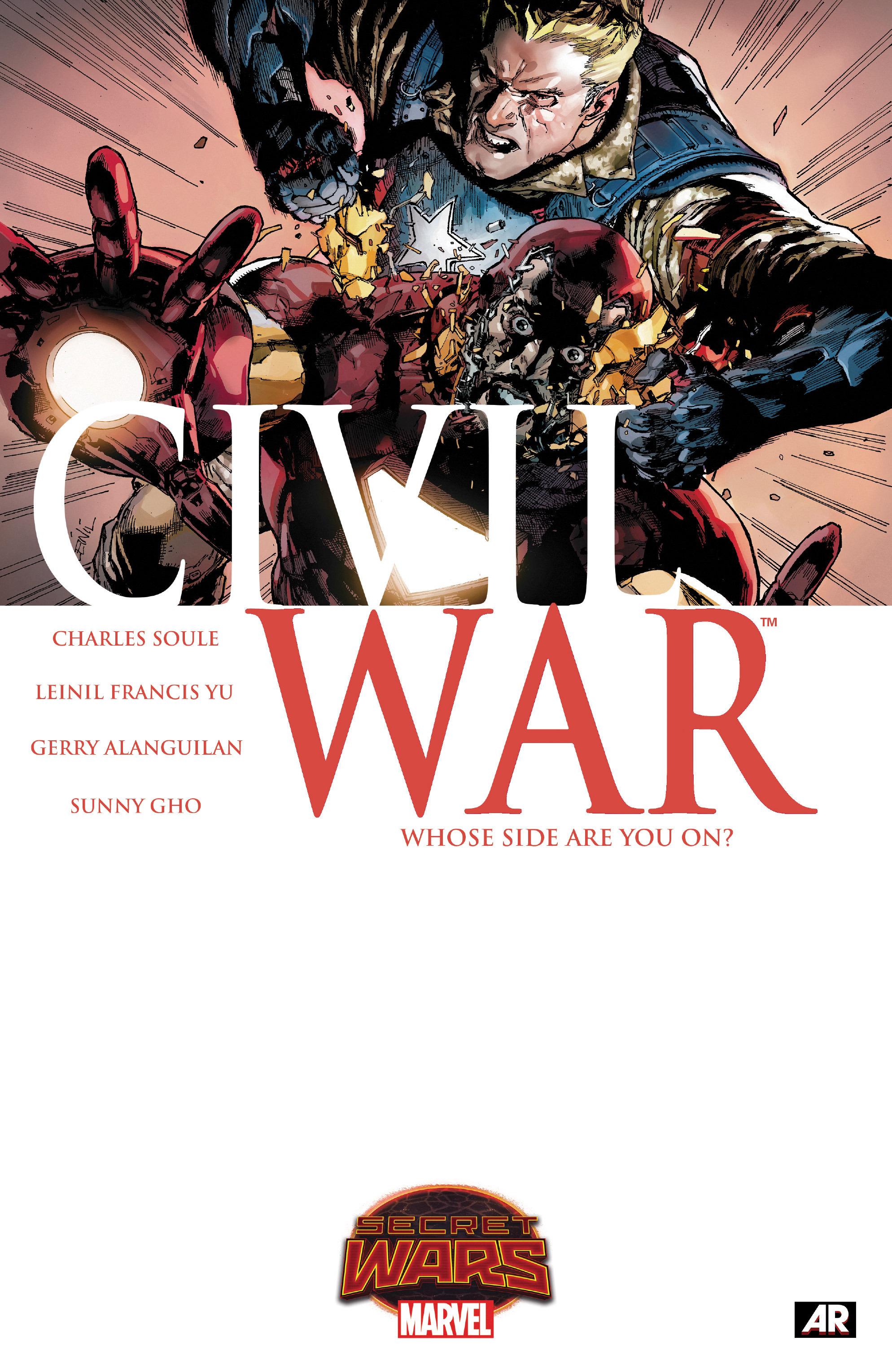 CIVIL WAR #1 signed 1:20 variant 1st print SECRET WARS CHARLES SOULE MARVEL 2015