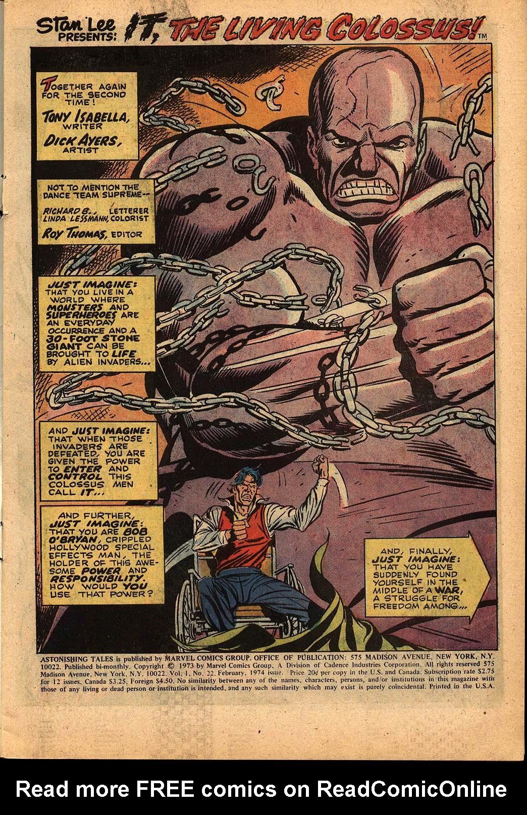 Read online Astonishing Tales (1970) comic -  Issue #22 - 2