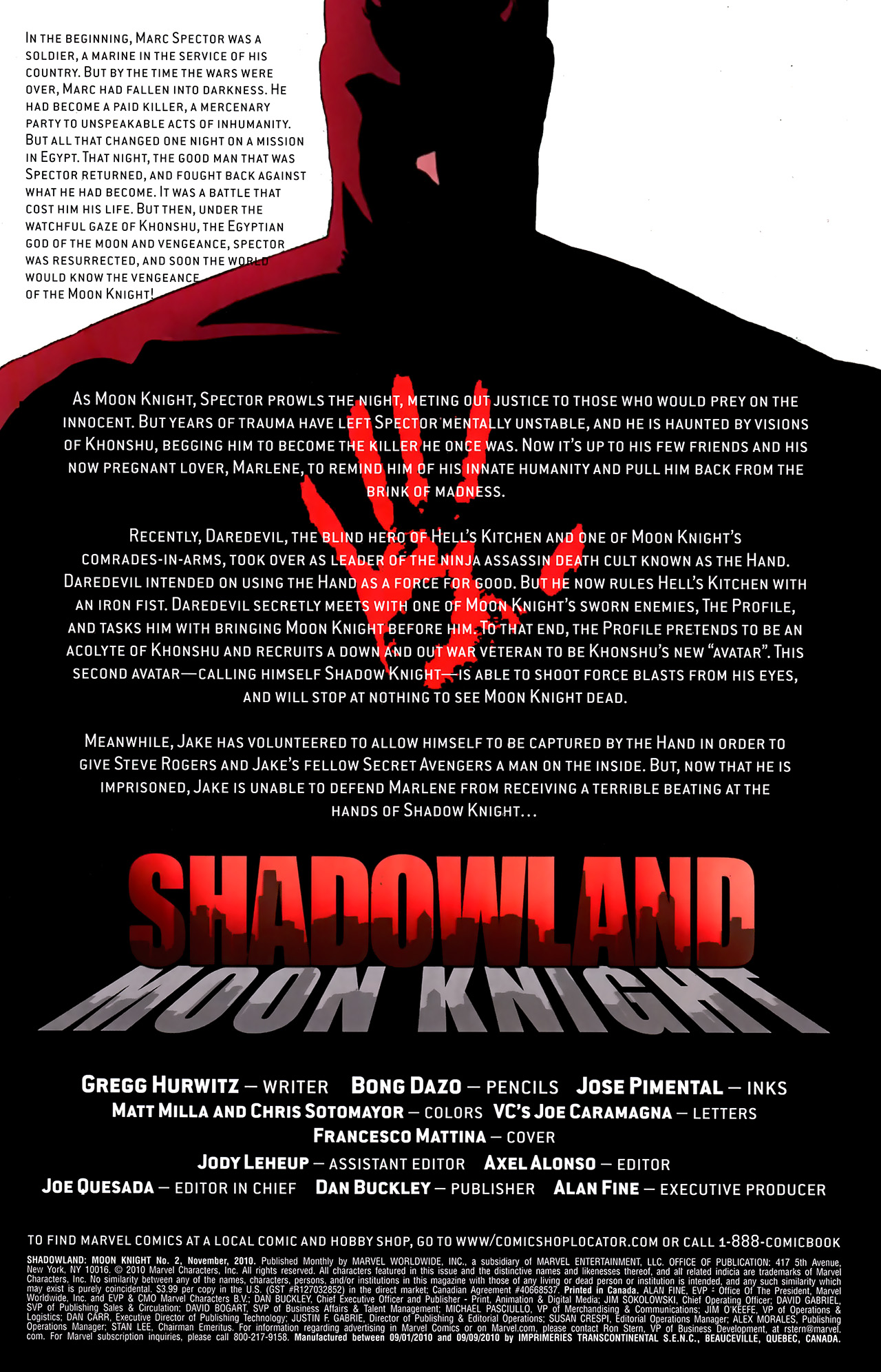 Read online Shadowland: Moon Knight comic -  Issue #2 - 2