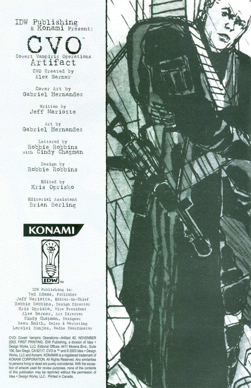CVO: Covert Vampiric Operations - Artifact issue 2 - Page 1