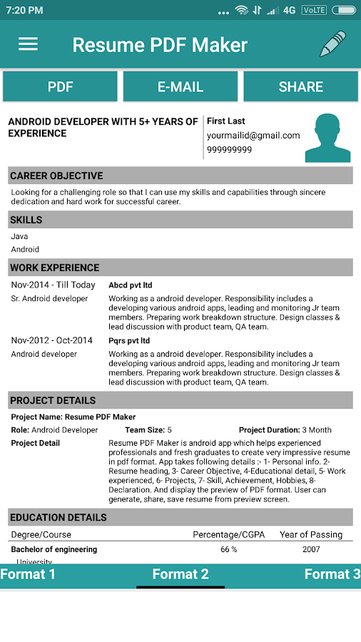 Resume PDF Maker / CV Builder