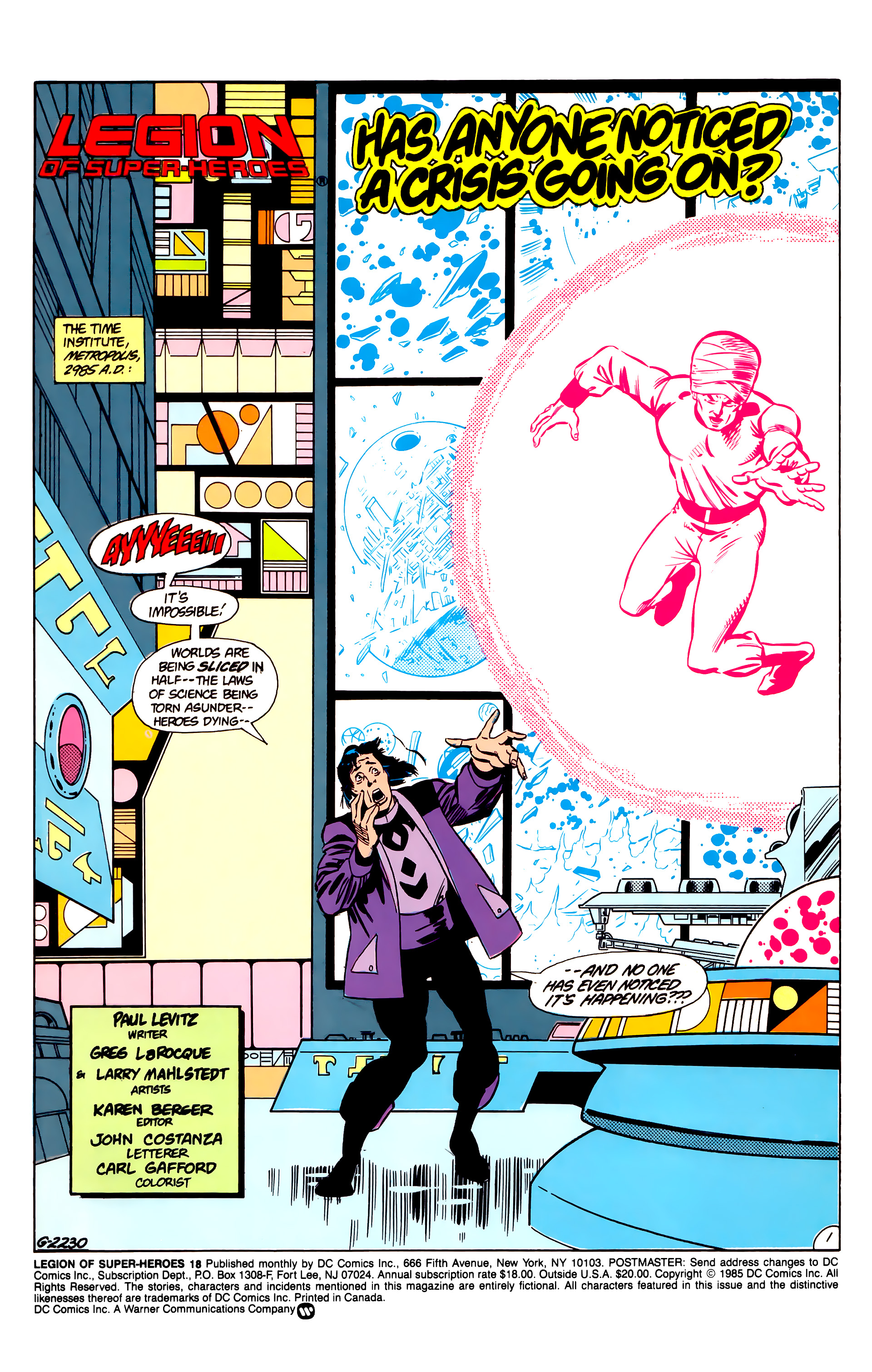 Legion of Super-Heroes (1984) 18 Page 1