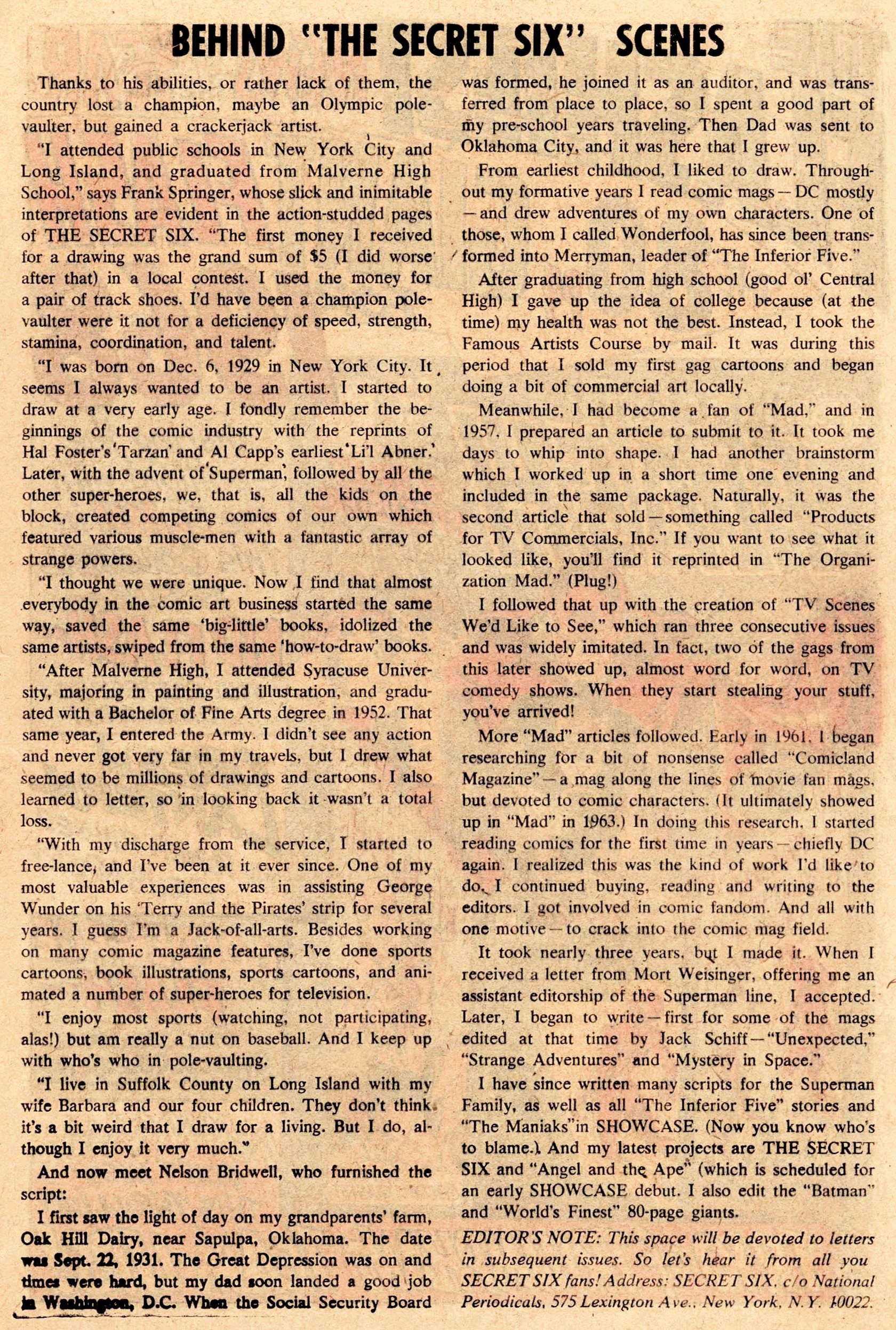 Read online Secret Six (1968) comic -  Issue #1 - 13