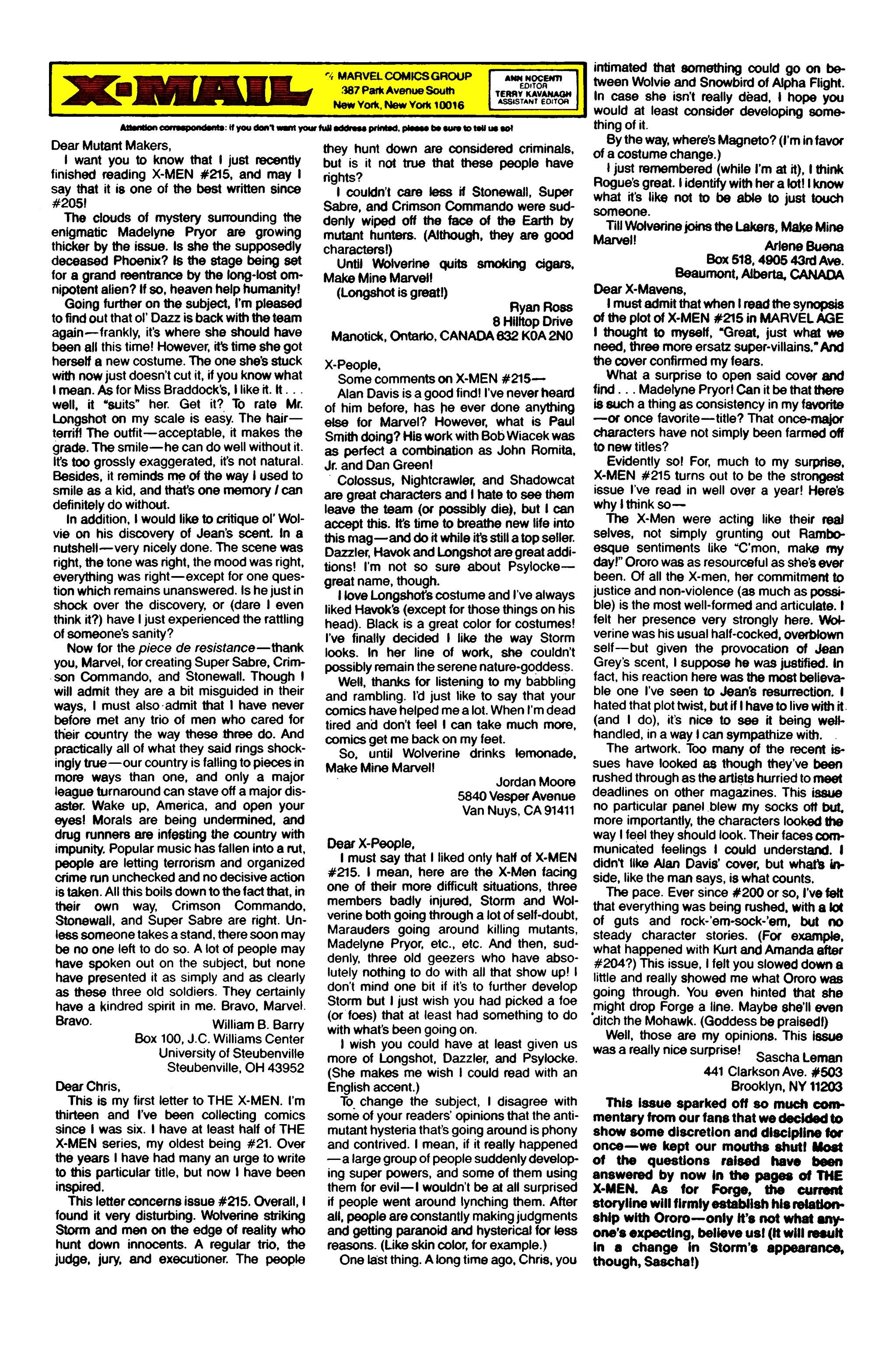 Read online Uncanny X-Men (1963) comic -  Issue #221 - 25