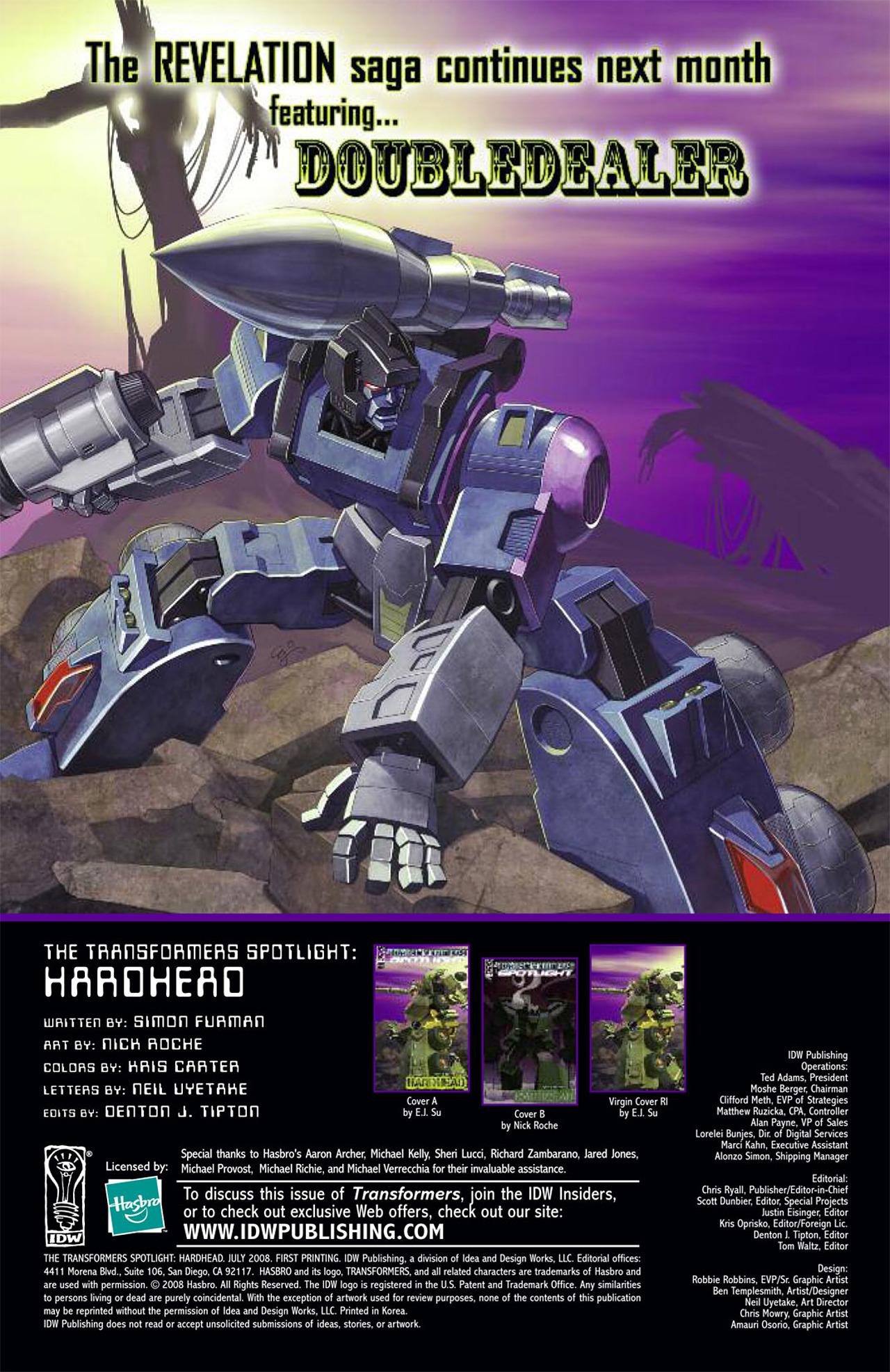 Read online Transformers Spotlight: Hardhead comic -  Issue # Full - 27