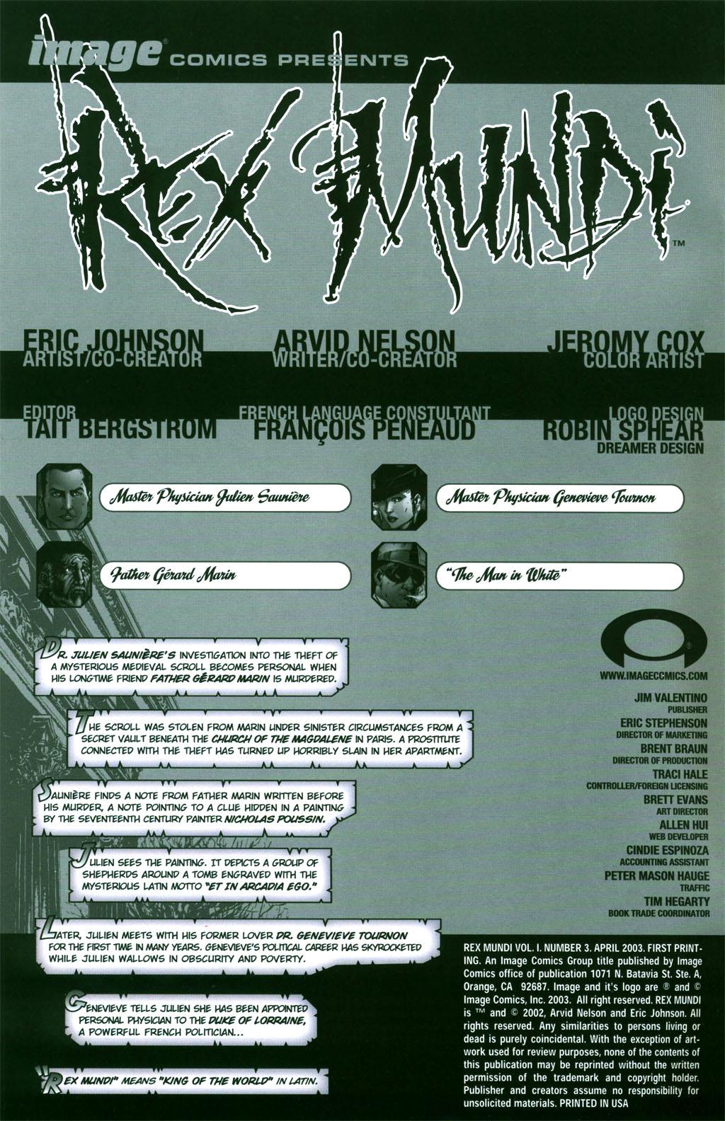 Read online Rex Mundi comic -  Issue #3 - 1