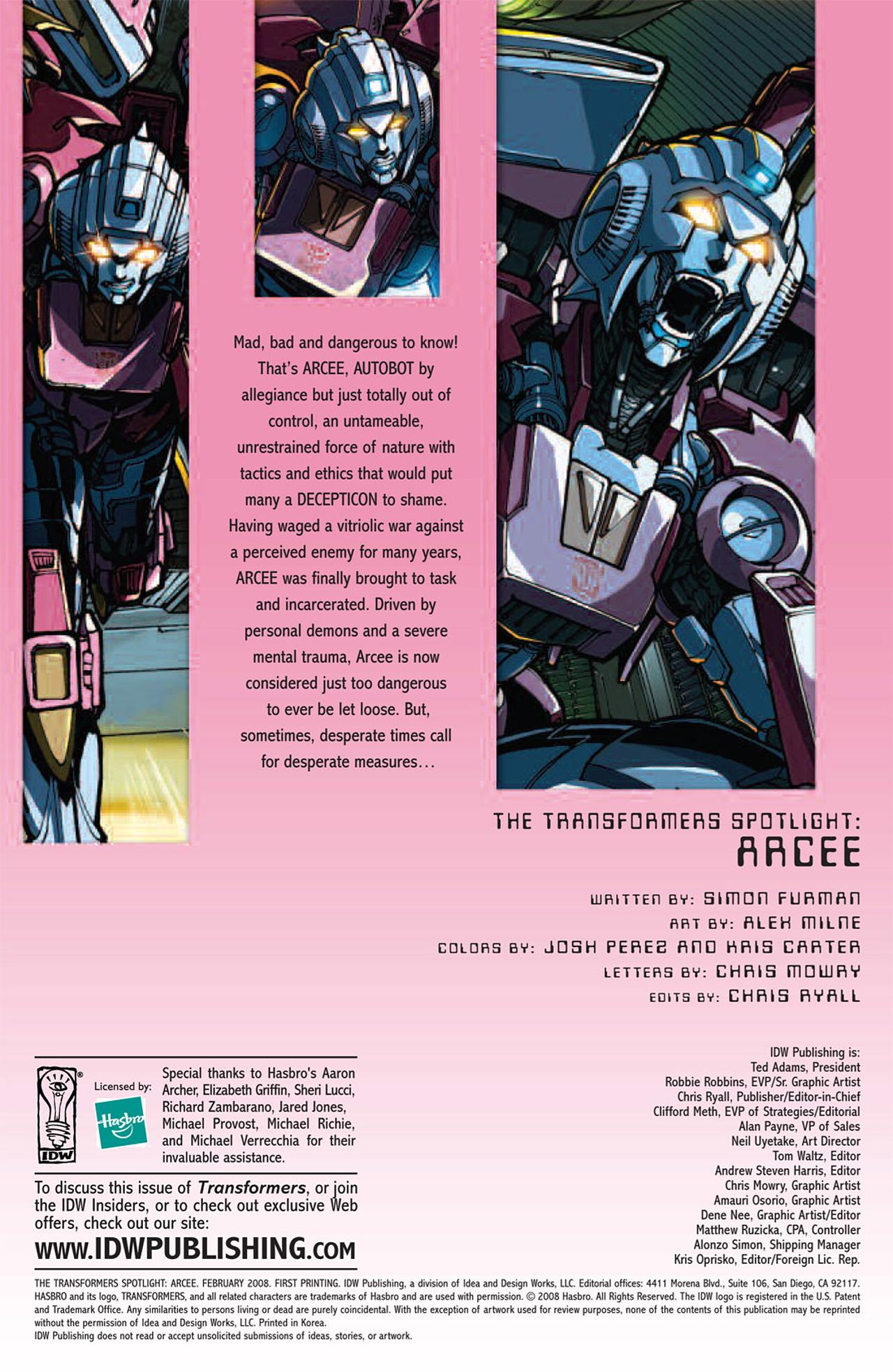 Read online Transformers: Spotlight - Arcee comic -  Issue # Full - 4