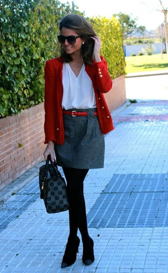 Classic outfit tip with red cardigan, white blouse and gray skirt for Cool Winter women