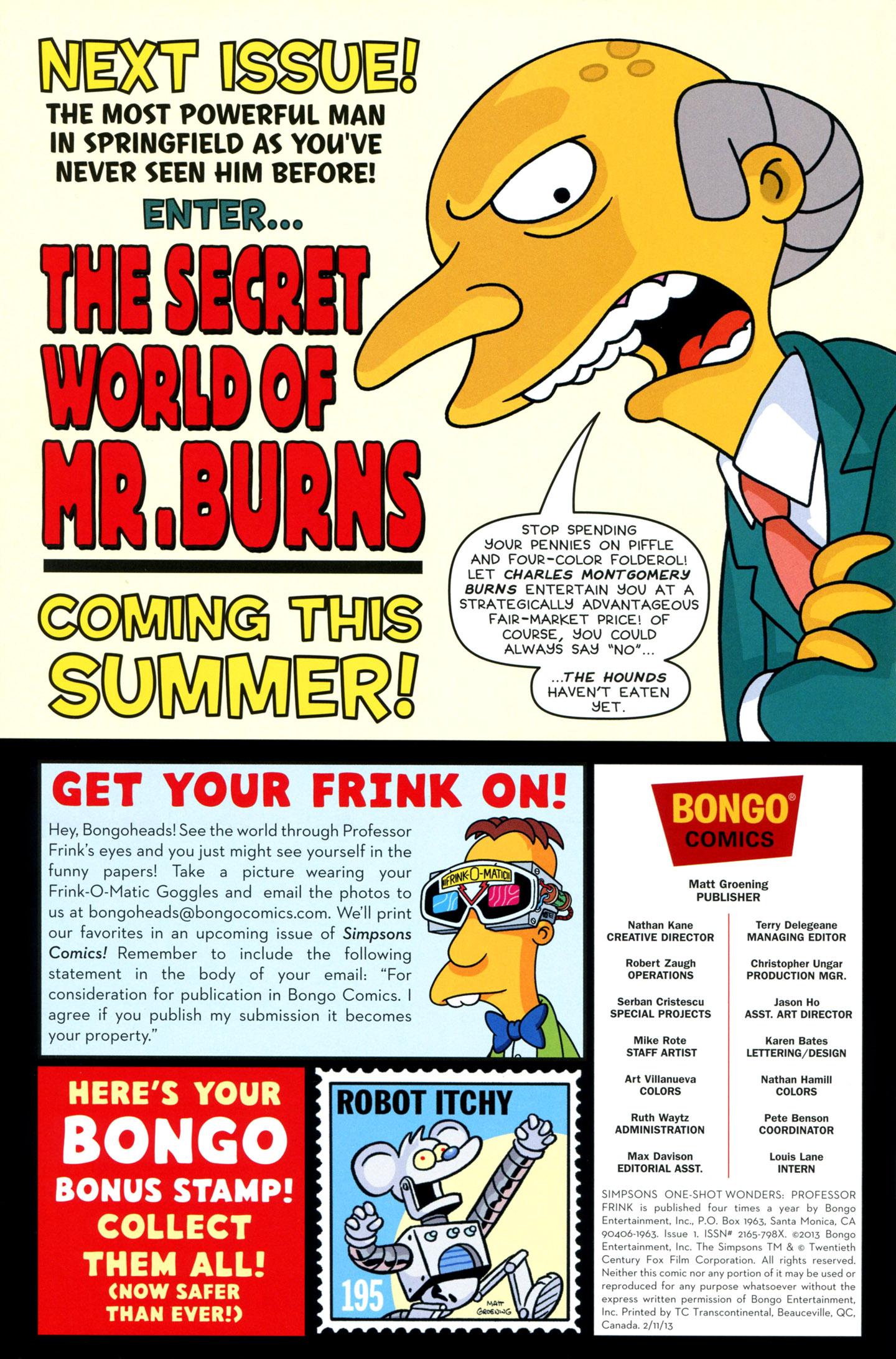 Read online Simpsons One-Shot Wonders: Professor Frink comic -  Issue # Full - 30