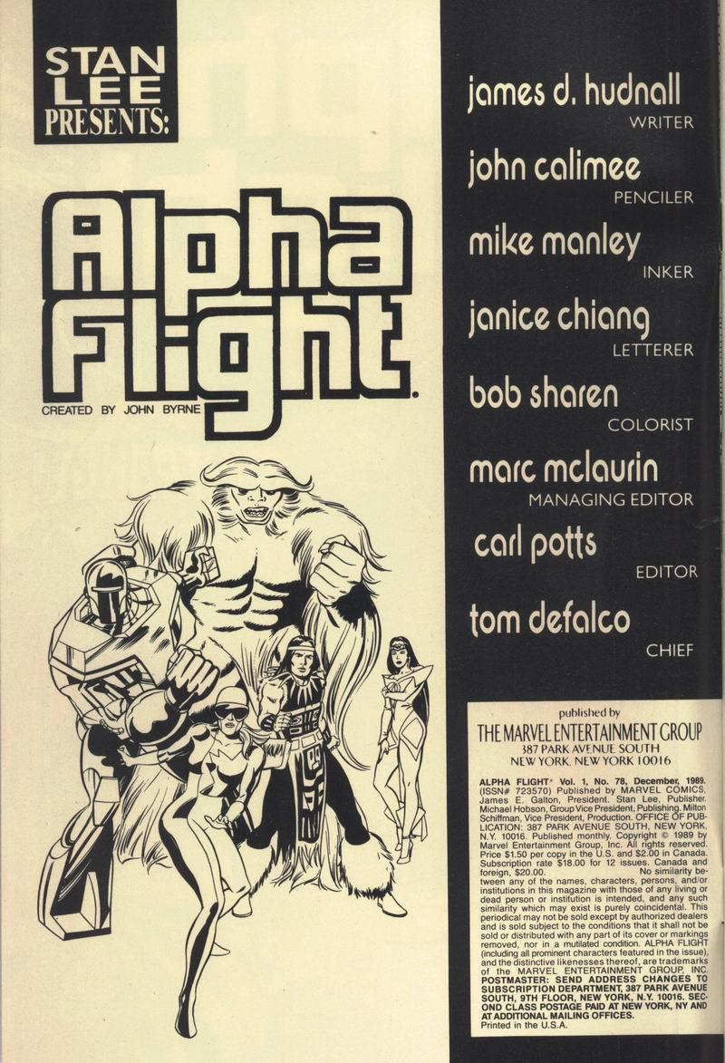 Read online Alpha Flight (1983) comic -  Issue #78 - 2