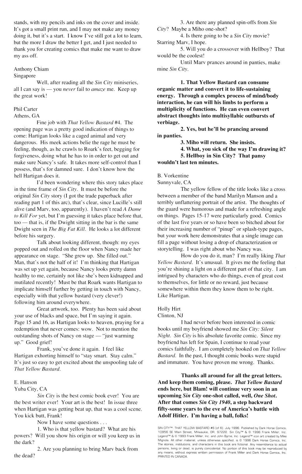 Read online Sin City: That Yellow Bastard comic -  Issue #6 - 46