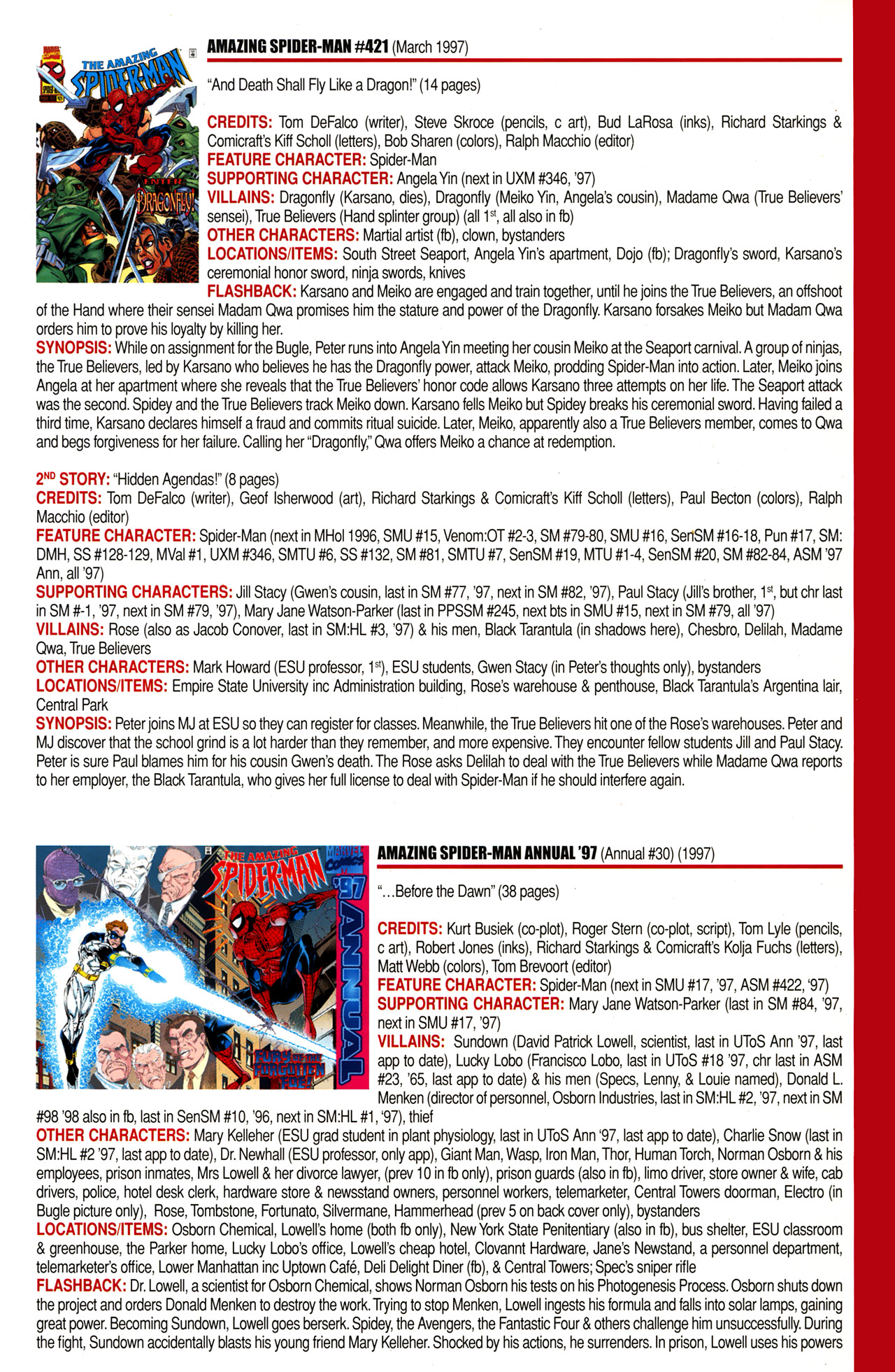 Read online Official Index to the Marvel Universe comic -  Issue #10 - 15