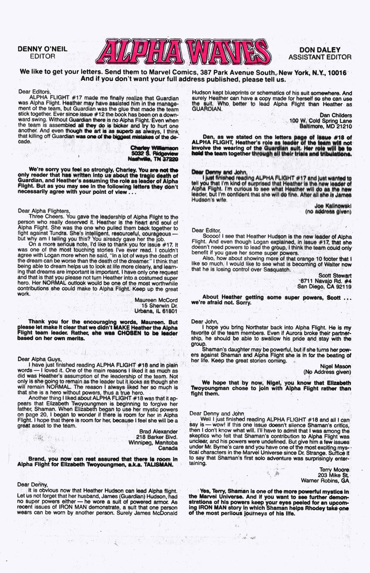 Read online Alpha Flight (1983) comic -  Issue #21 - 25