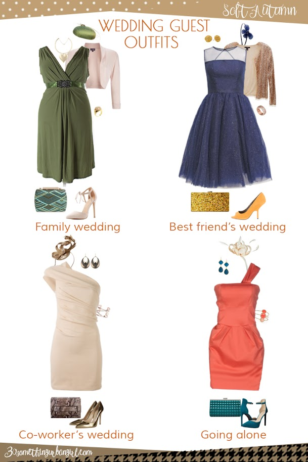 Wedding guest outfit ideas for Soft Autumn women by 30somethingurbangirl.com // Are you invited to a family, your best friend's or your co-worker's wedding, maybe going solo to a nuptials? Find pretty outfit ideas and look fabulous!
