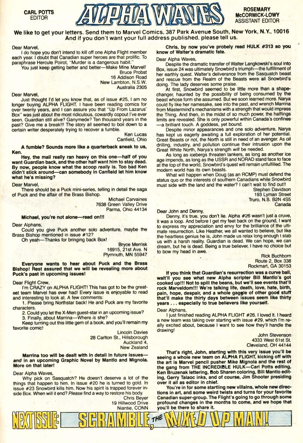 Read online Alpha Flight (1983) comic -  Issue #29 - 24