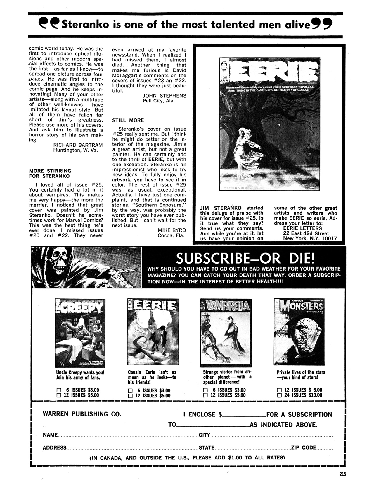 Read online Eerie Archives comic -  Issue # TPB 5 - 216