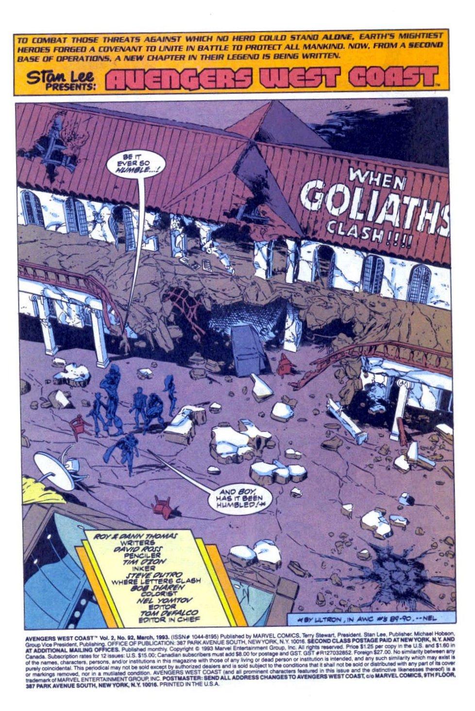 Avengers West Coast (1989) 92 Page 2