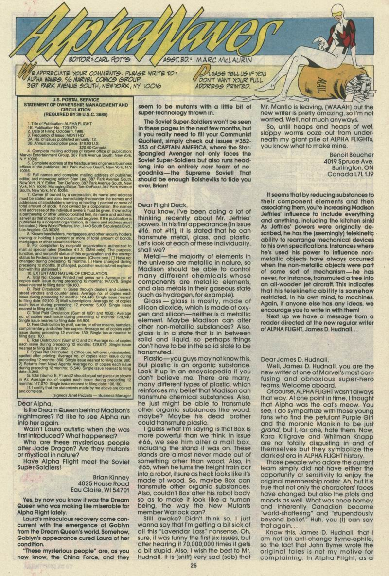 Read online Alpha Flight (1983) comic -  Issue #69 - 28