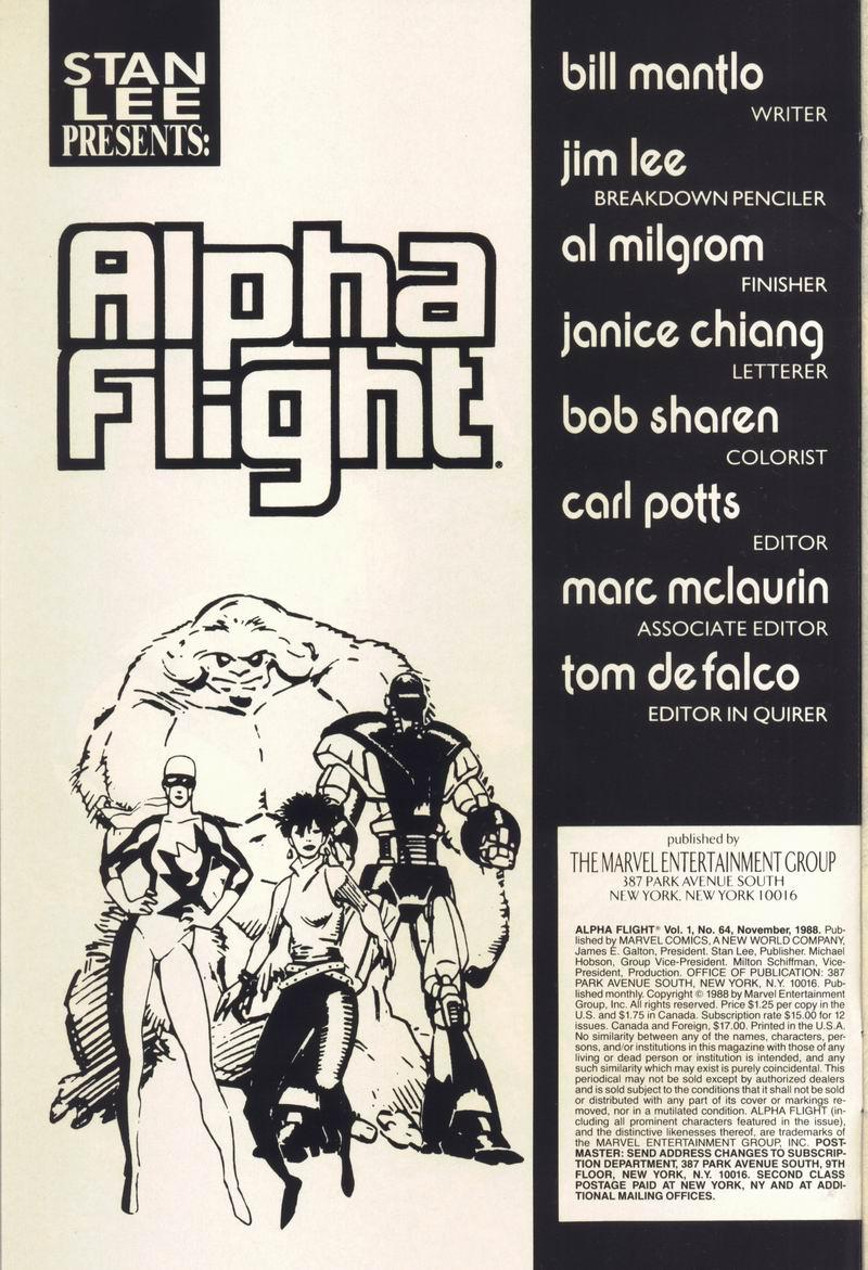 Read online Alpha Flight (1983) comic -  Issue #64 - 2