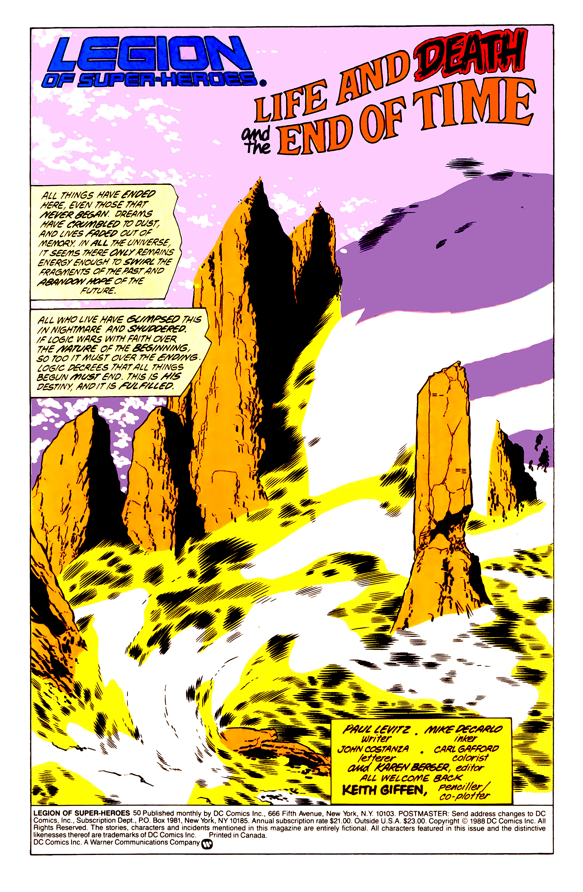Legion of Super-Heroes (1984) 50 Page 1