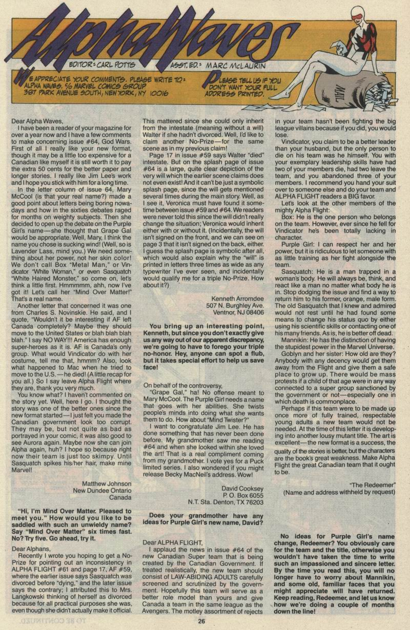 Read online Alpha Flight (1983) comic -  Issue #68 - 28