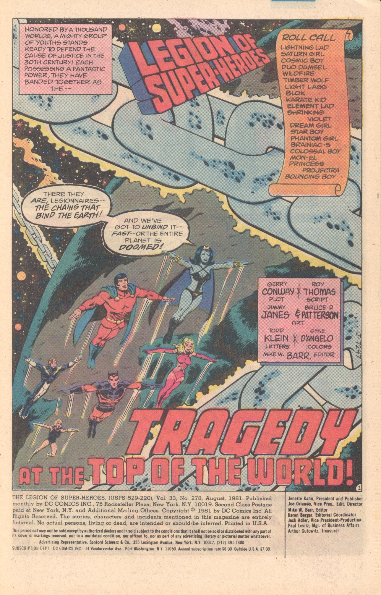 Legion of Super-Heroes (1980) 278 Page 1