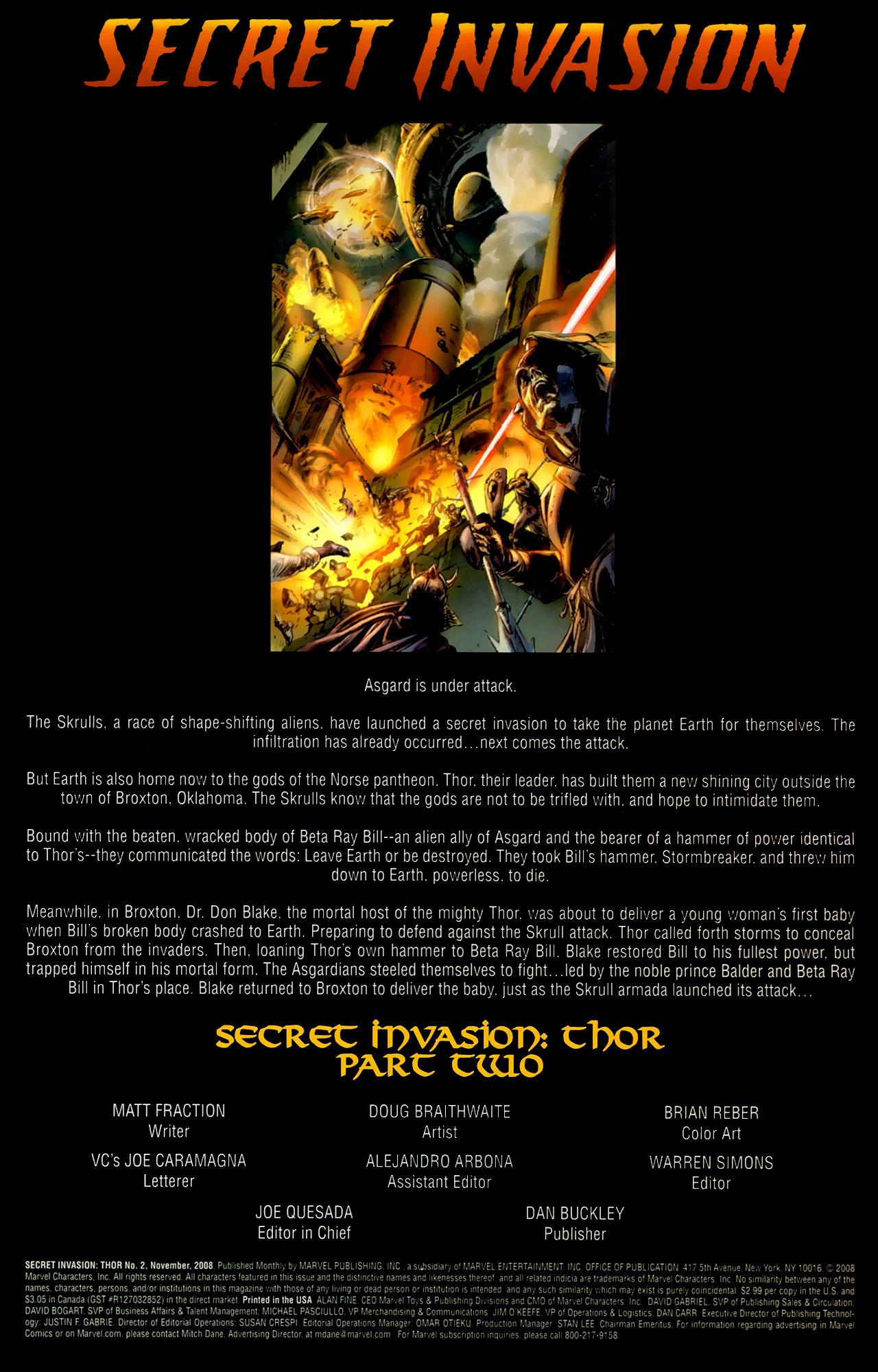 Read online Secret Invasion: Thor comic -  Issue #2 - 2