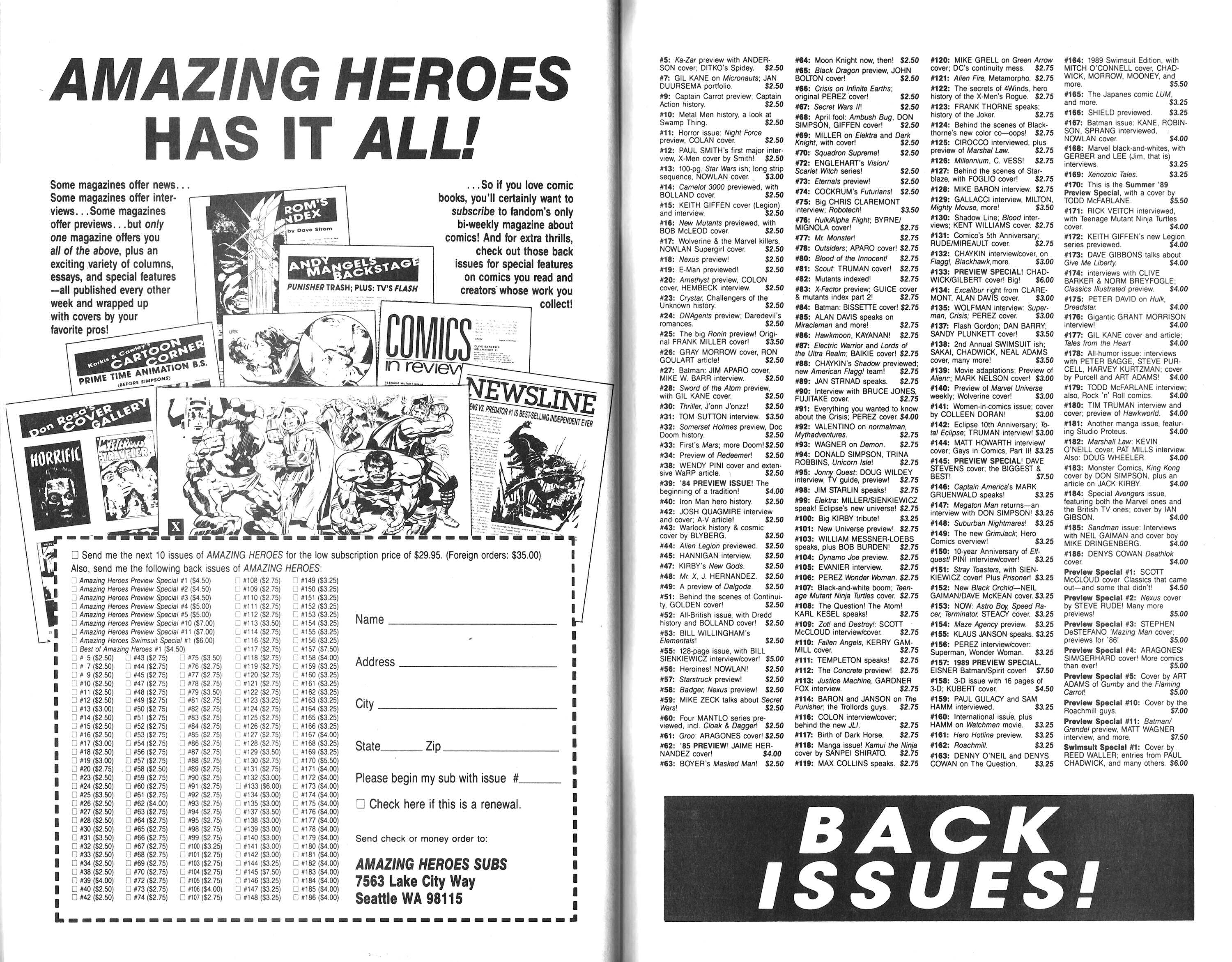 Read online Amazing Heroes comic -  Issue #188 - 63