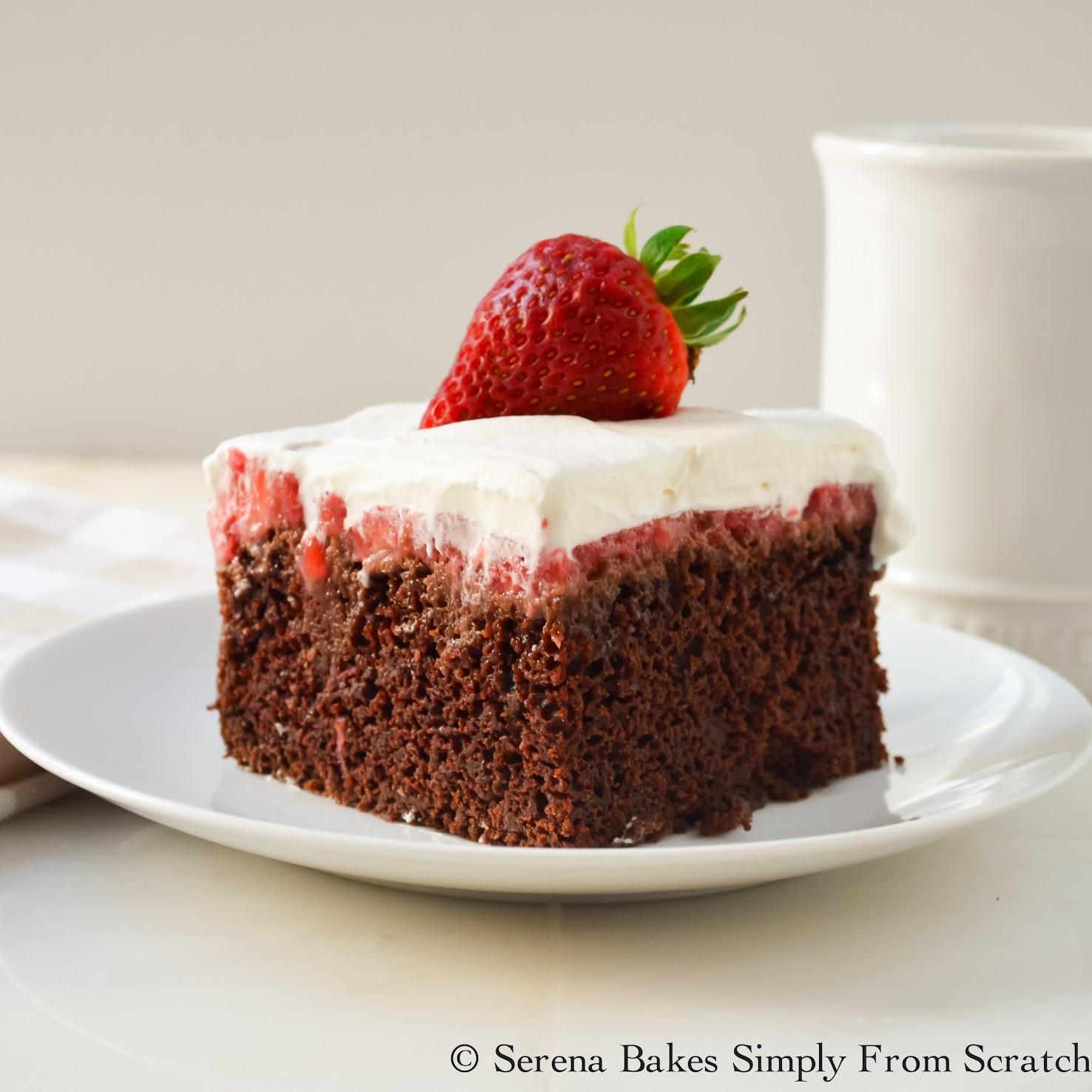 Chocolate Strawberry Poke Cake | www.serenabakessimplyfromscratch.com