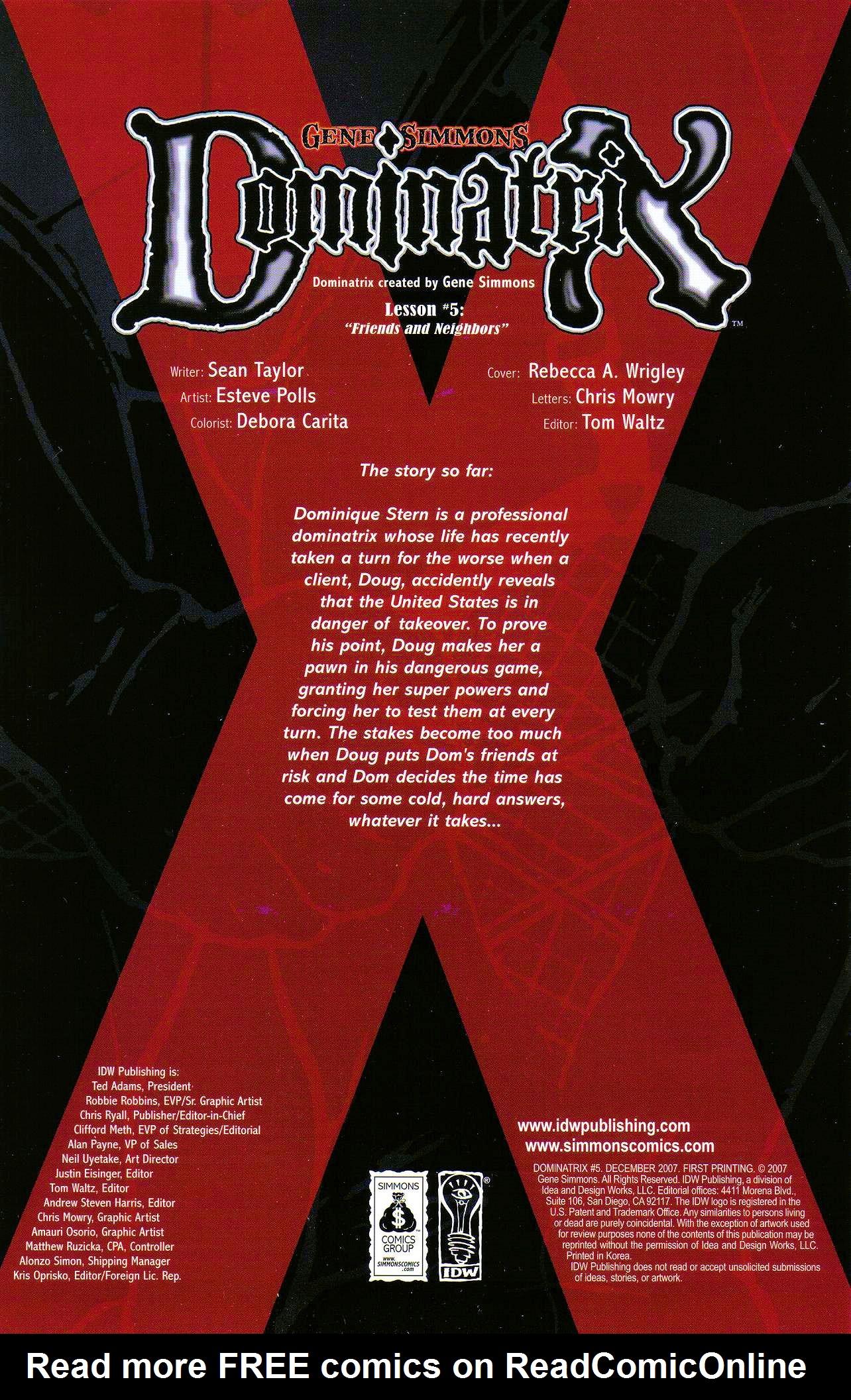 Read online Dominatrix comic -  Issue #5 - 2