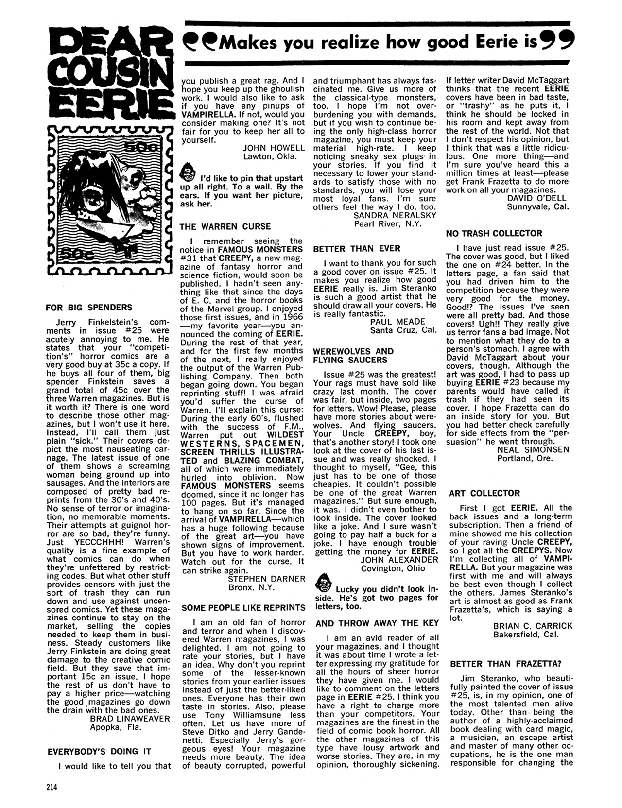 Read online Eerie Archives comic -  Issue # TPB 5 - 215