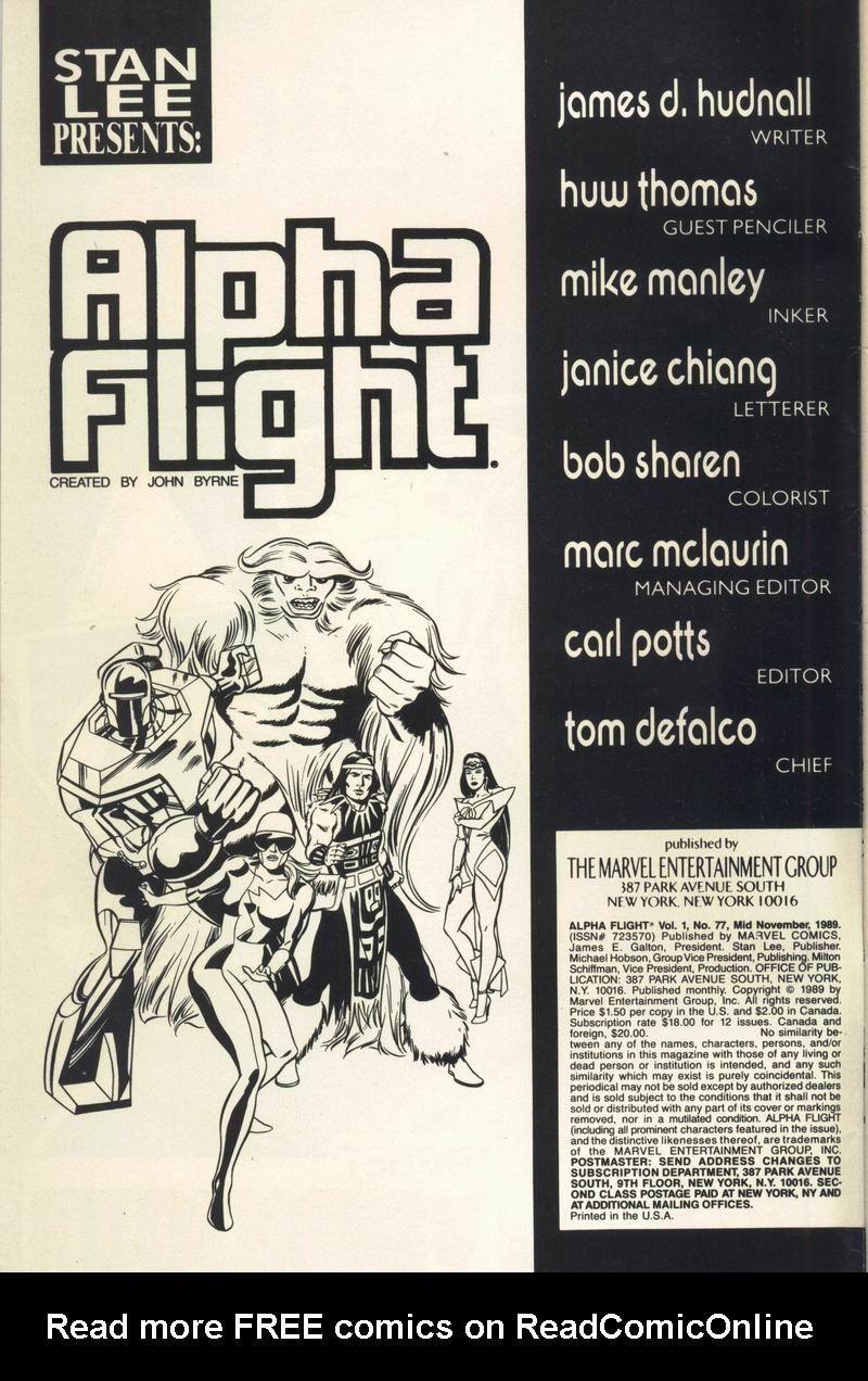 Read online Alpha Flight (1983) comic -  Issue #77 - 2
